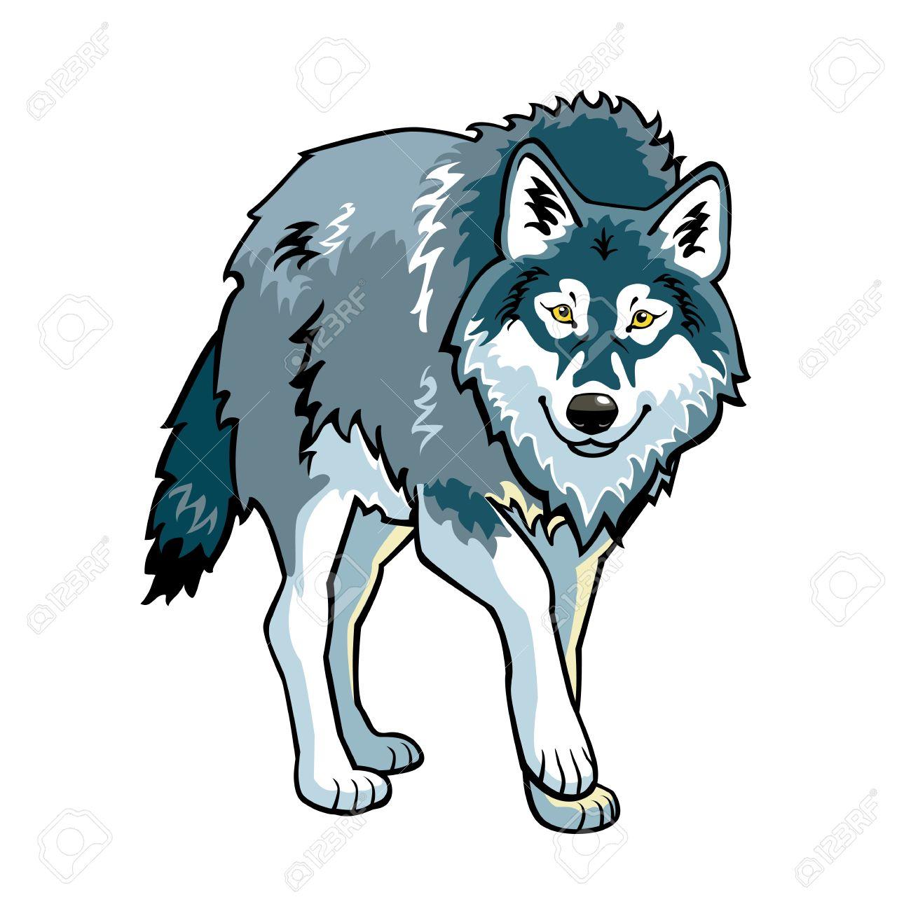 立っている灰色オオカミ