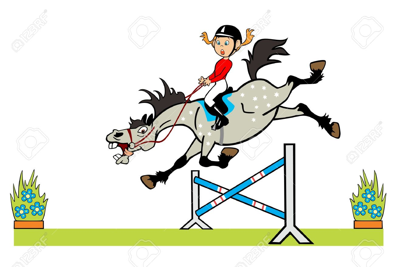 cartoon image of little girl with happy pony horse jumping a hurdle children illustration isolated on white background Stock Vector - 15230342