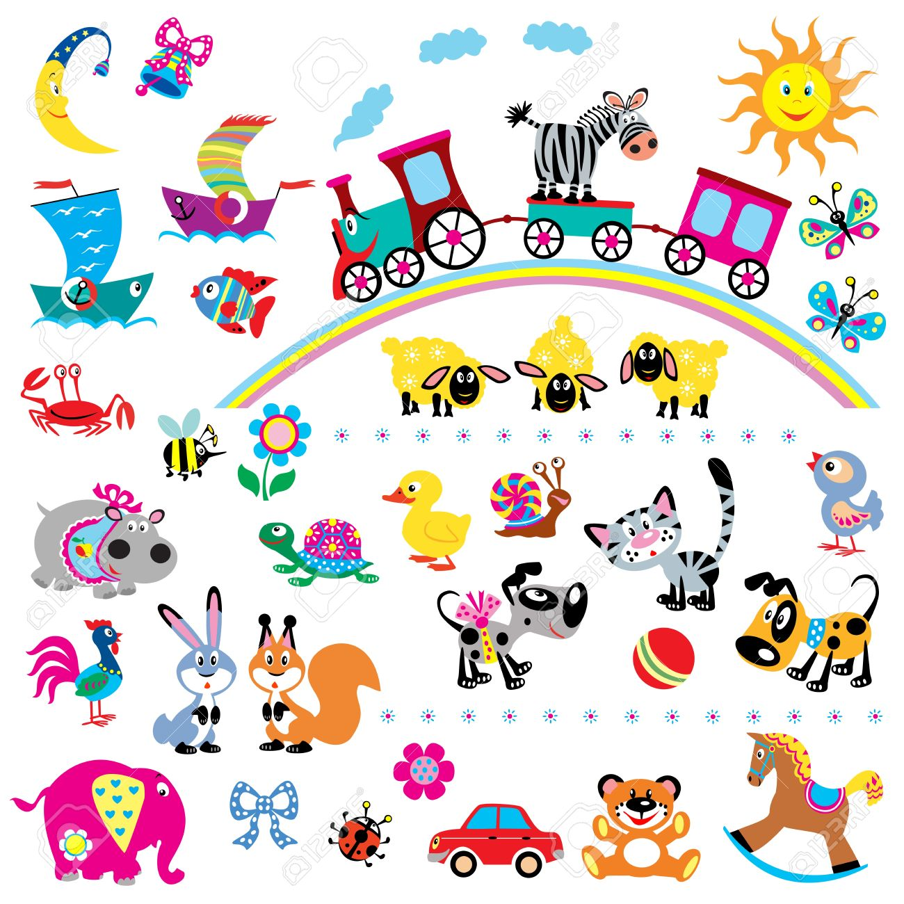 big vector set of simple children pictures for babies and little