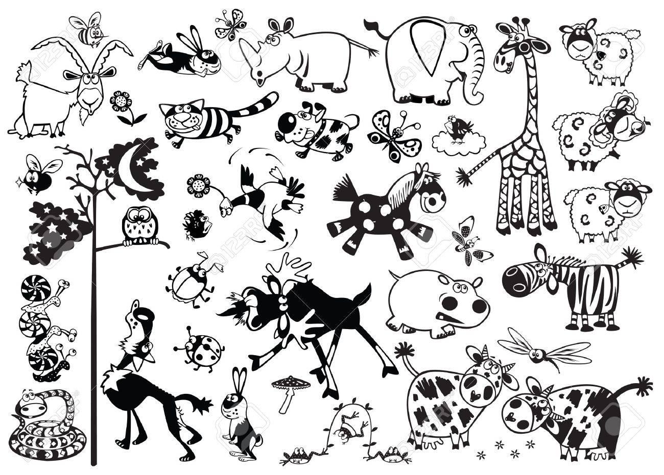 Conjunto De Dibujos Animados De Gran Infantiles Animales Mas