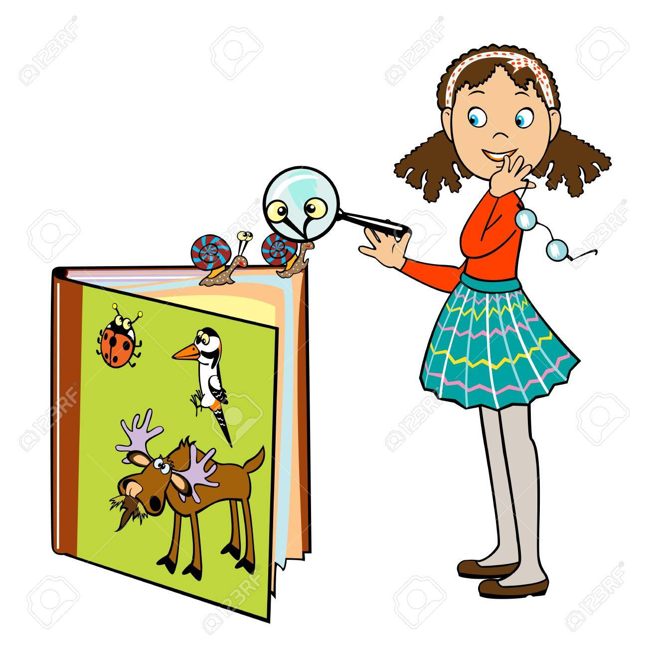 standing little school girl by book of animals and holding magnifying glass ,vector picture isolated on white background,children illustration Stock Vector - 15260546