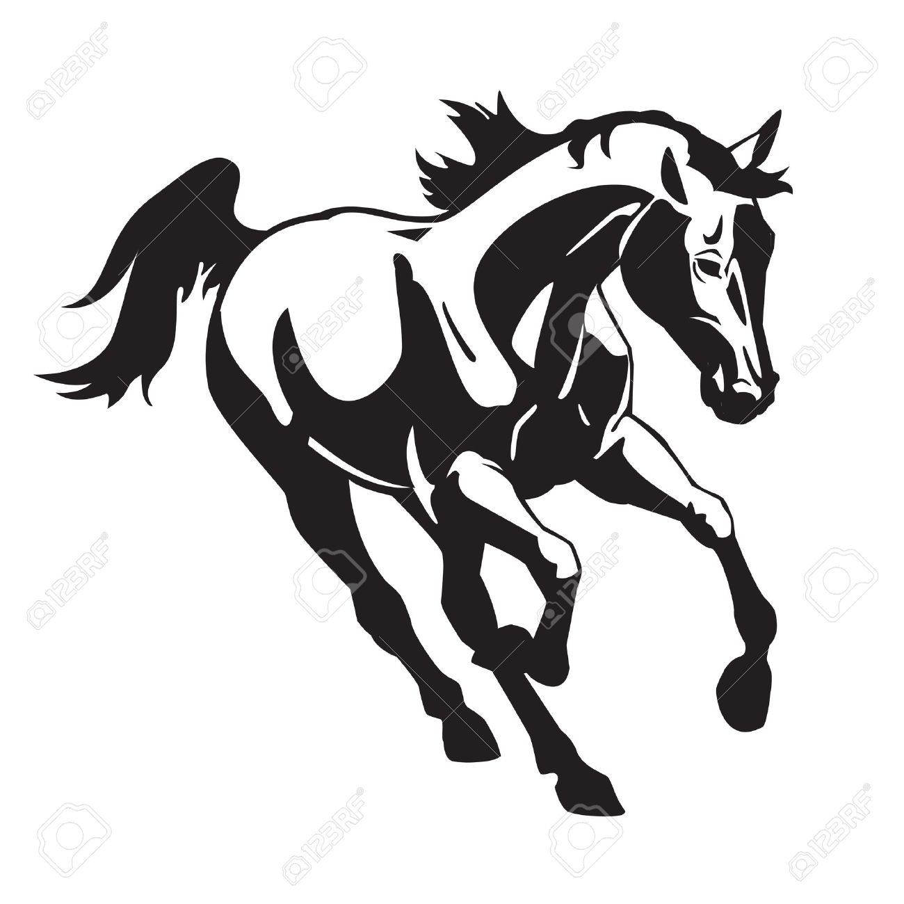 Running Horse Black And White Vector Image Isolated On White Royalty Free Cliparts Vectors And Stock Illustration Image 15260552