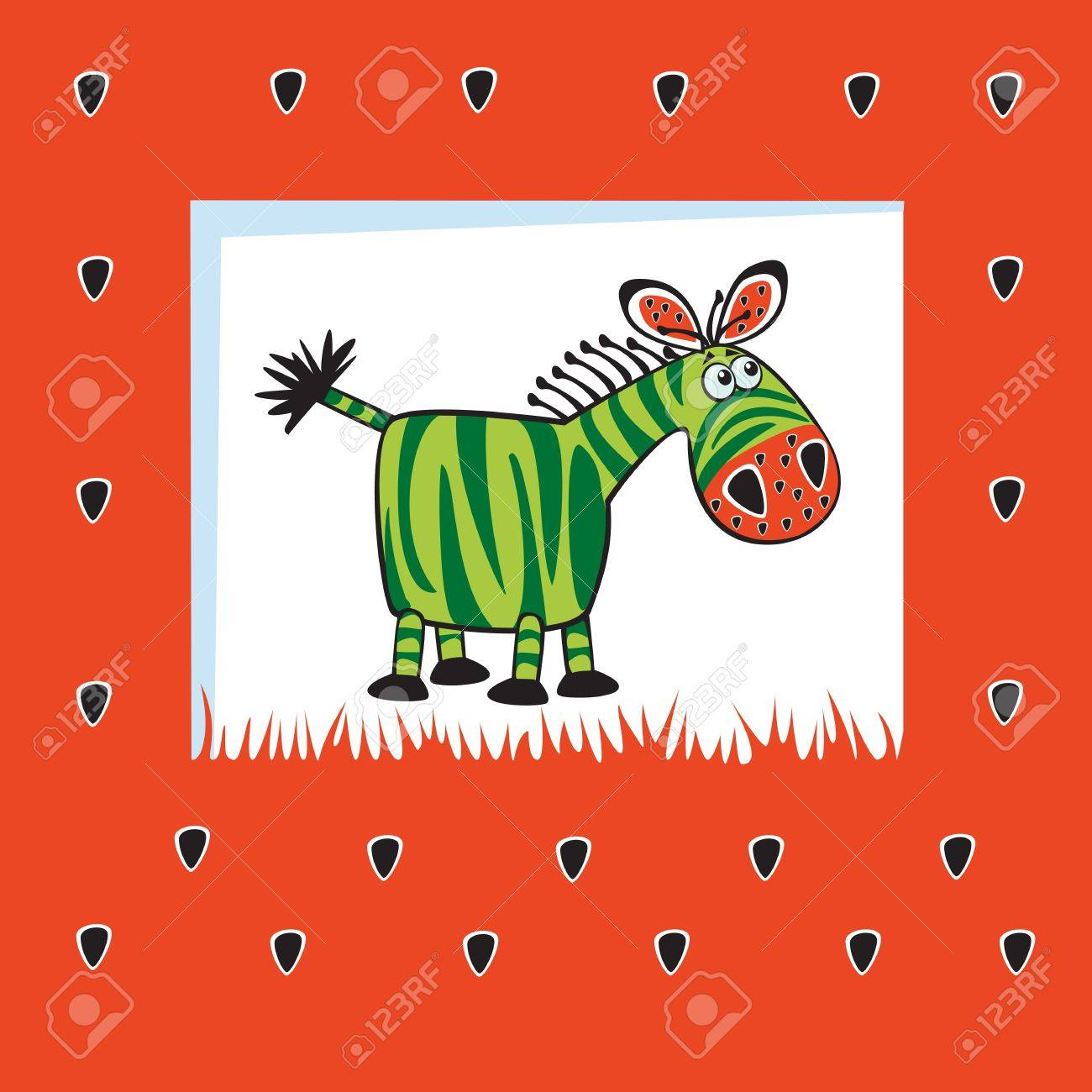 Cute Fruity Zebra Like Watermelon Children Vector Illustration Royalty Free Cliparts Vectors And Stock Illustration Image 15260562