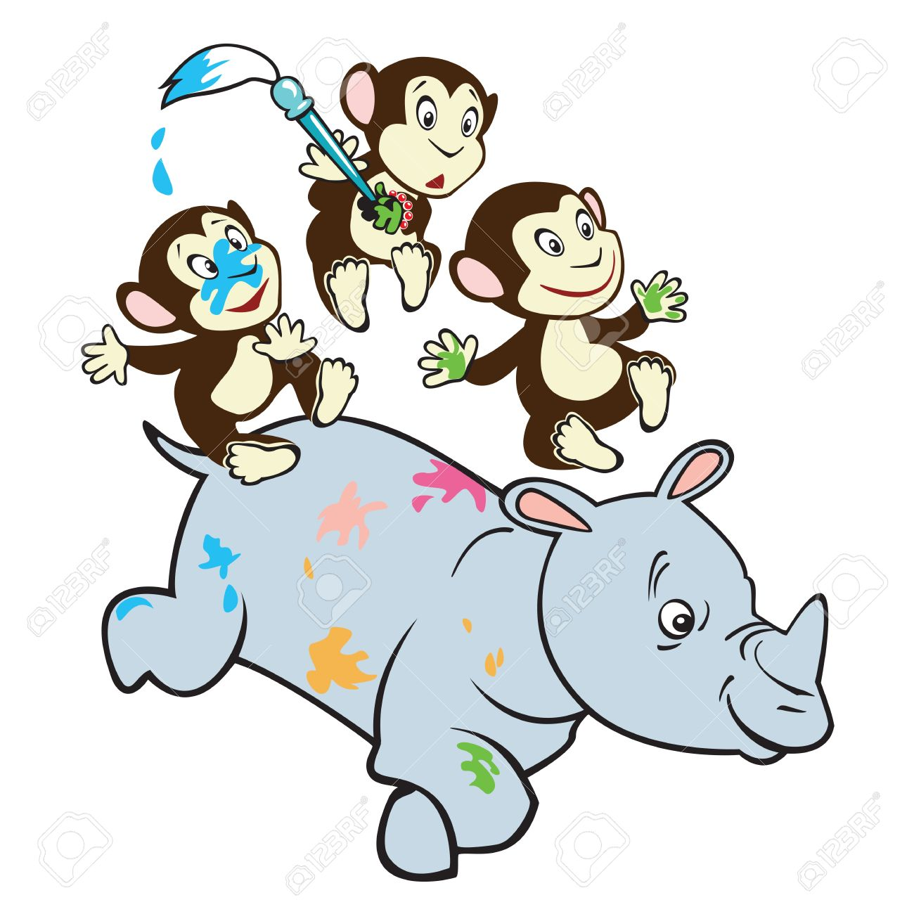 three cute little monkeys riding rhino cartoon vector picture