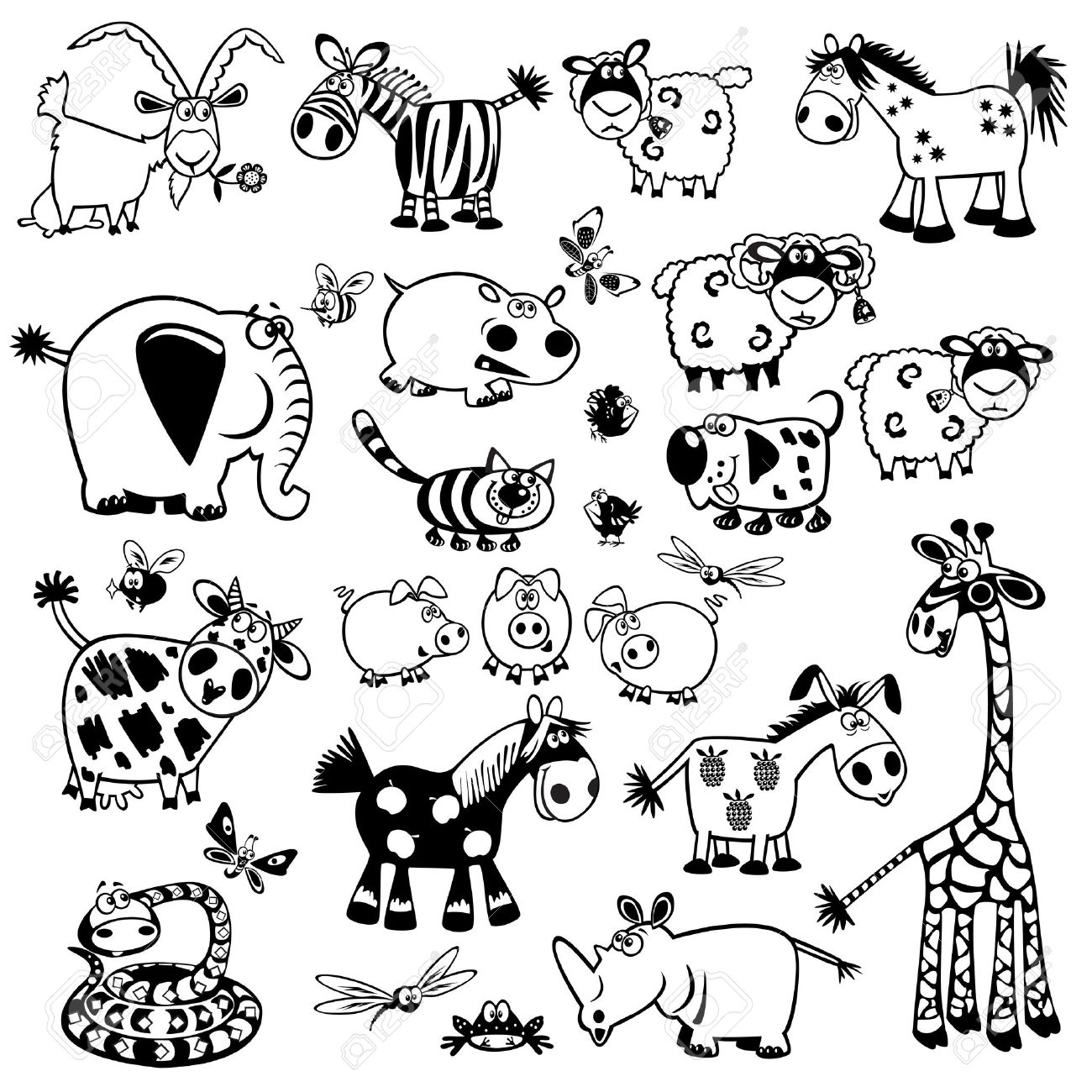 Set cute childish animalsblack and white vector pictureschildren illustrationcollection of