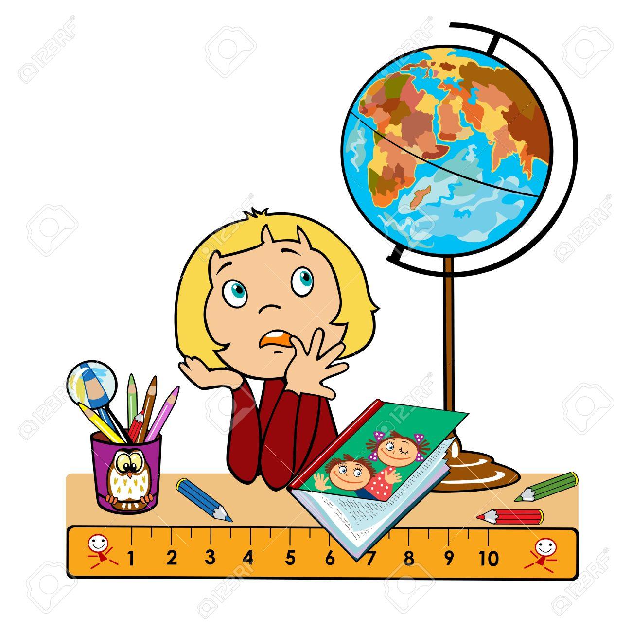 Tisch schule clipart  Schule Mädchen Sitzt Am Tisch Mit Globus, Buch Und Eine Tasse Mit ...