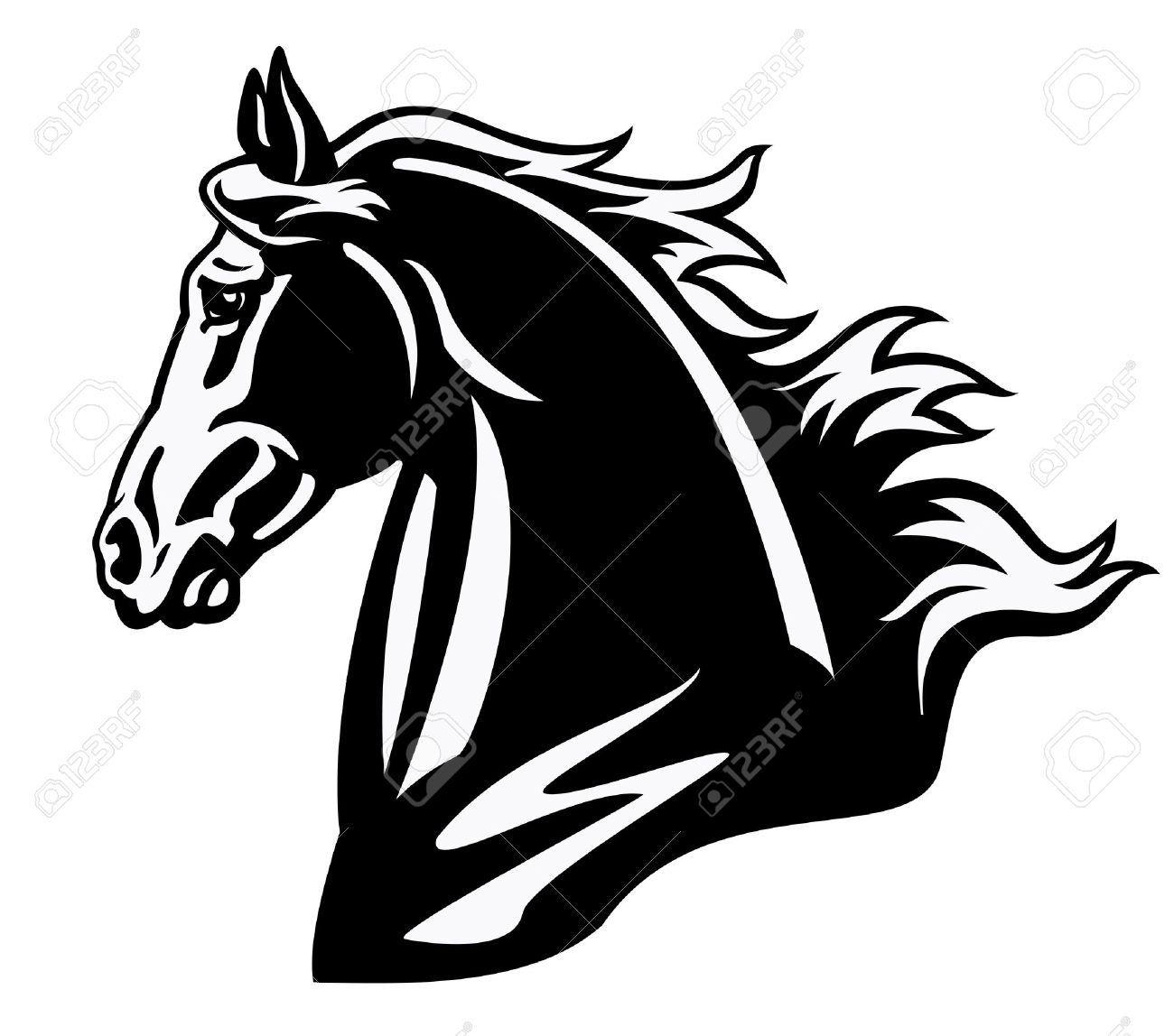 horse head,black and white image ,side view picture isolated on white background,tattoo illustration Stock Vector - 15783694