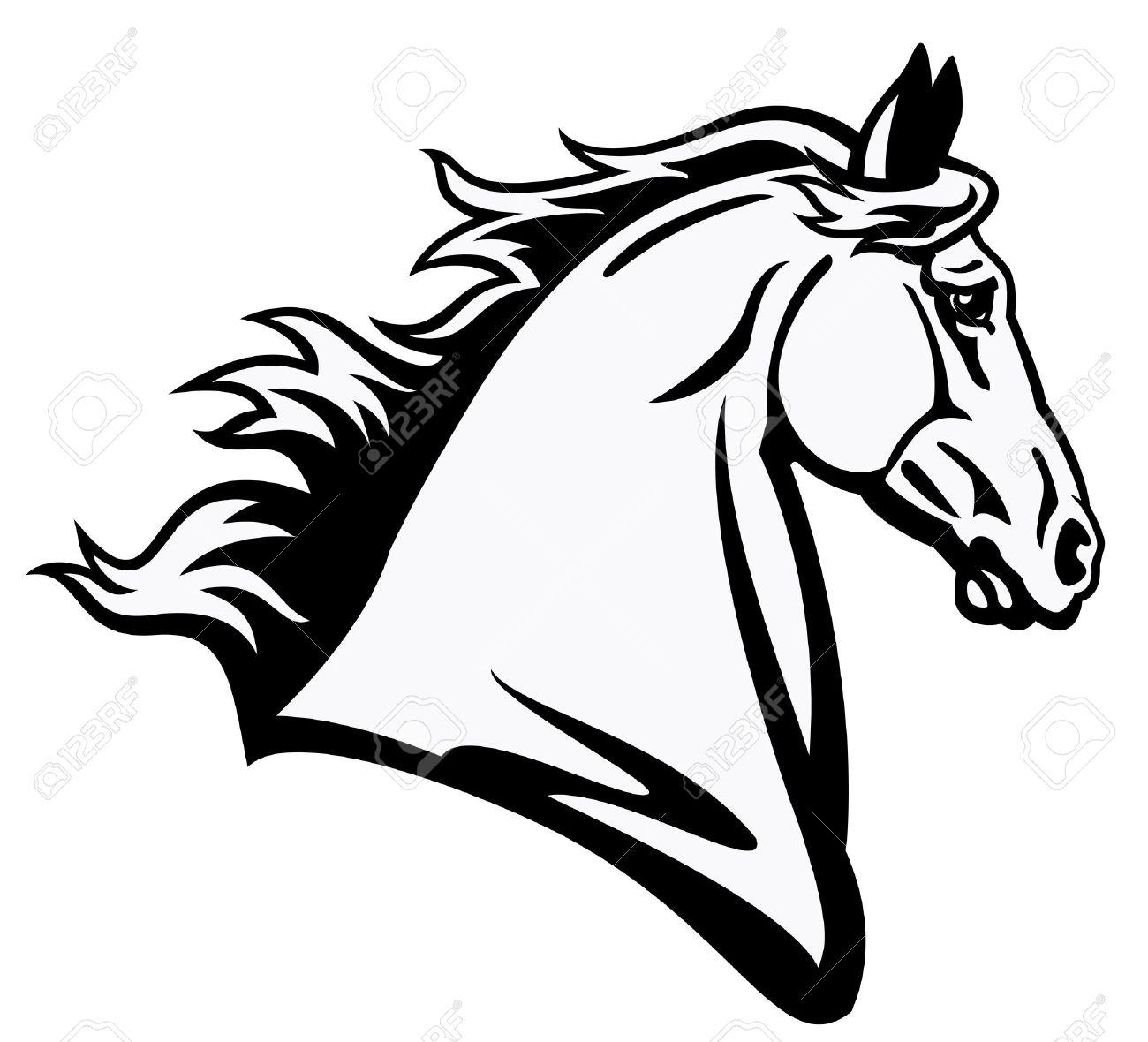 Paard Hoofd Zwart Wit Foto Zijaanzicht Geïsoleerd Op Witte Achtergrond Tattoo Afbeelding