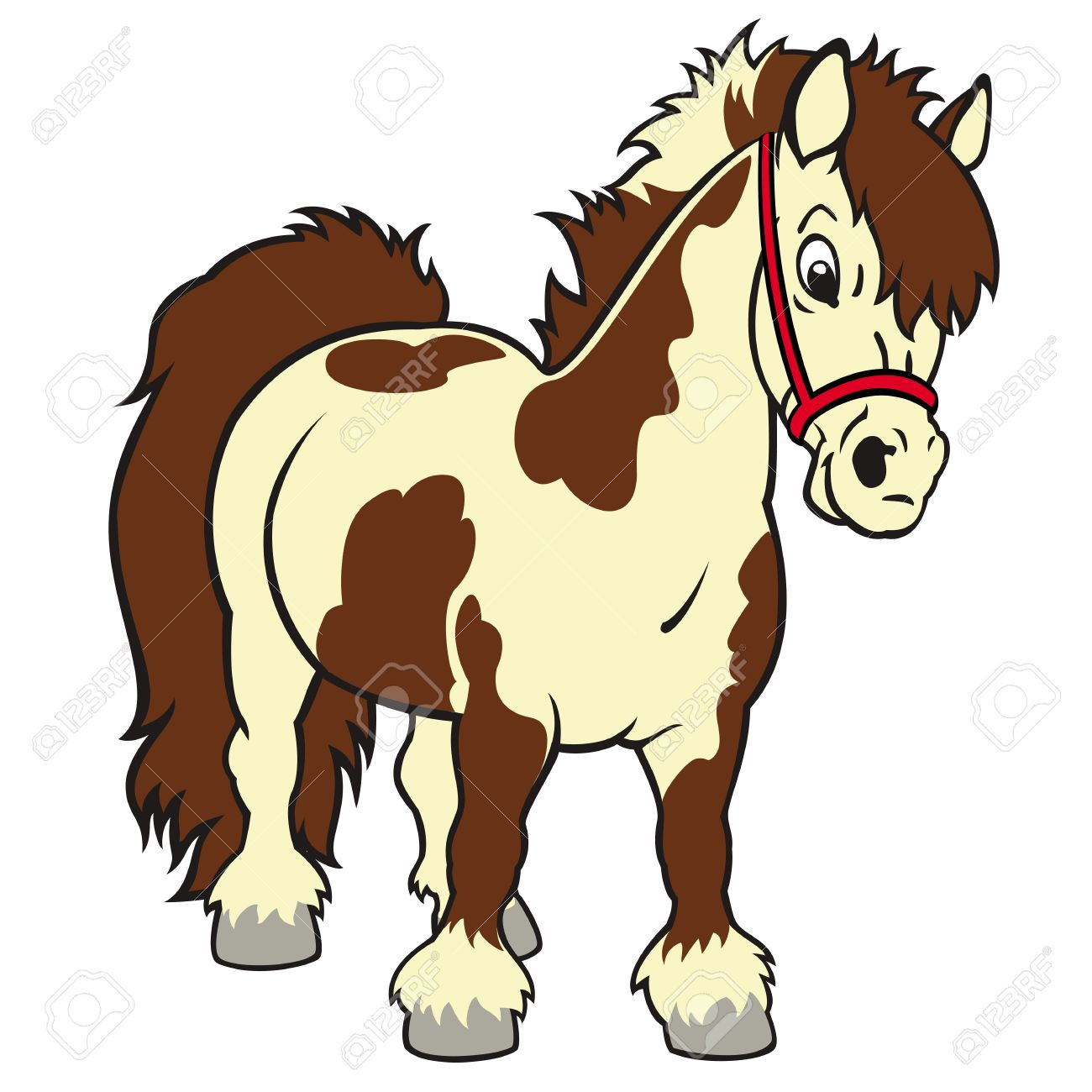 horse,Shetland pony,small,cartoon vector image isolated on white background,children illustration,picture for little kids Stock Vector - 15994085