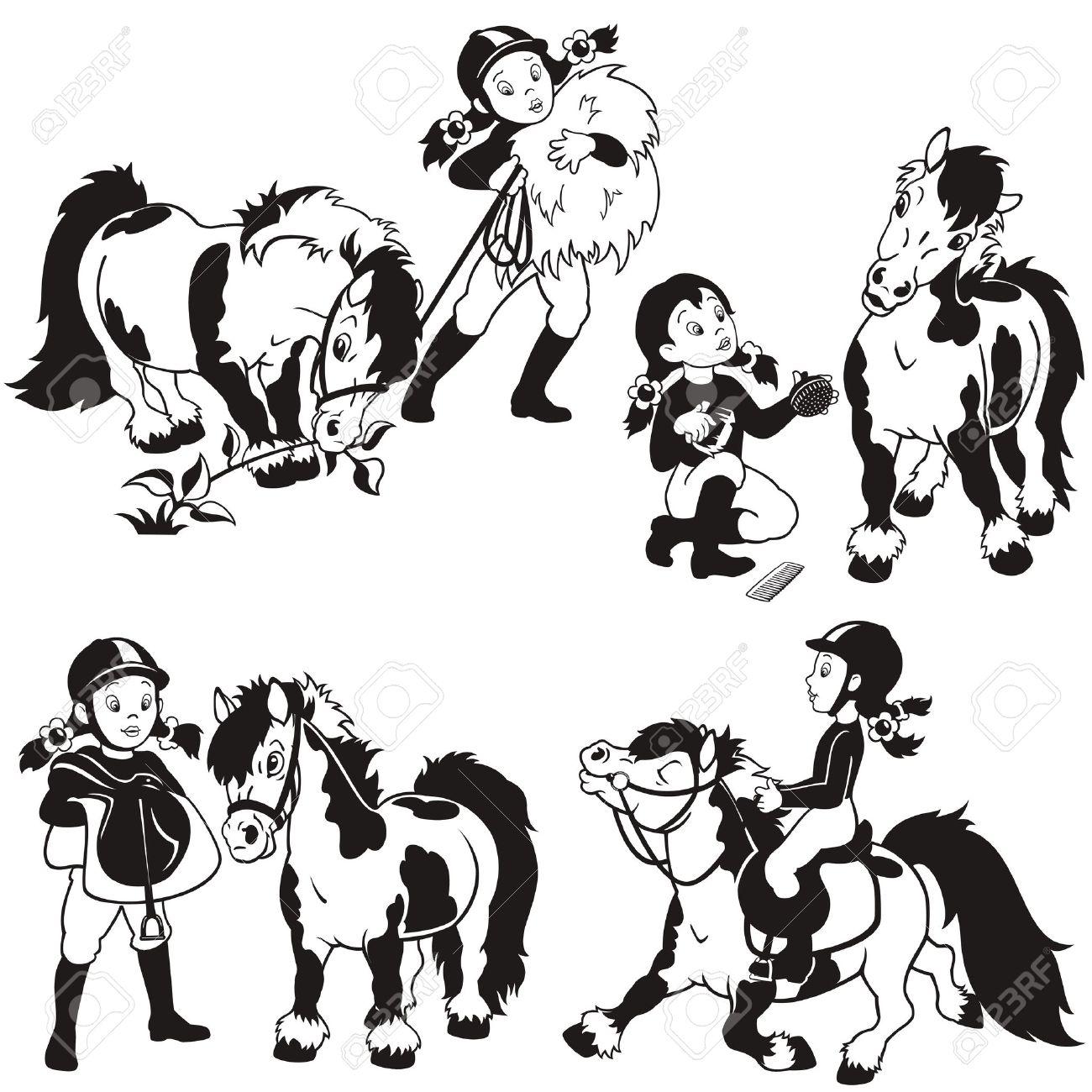 Cheval Cavalier Petite Fille Et Poney Jeu De Dessin Animé En Noir Et Blanc Illustration Pour Enfants