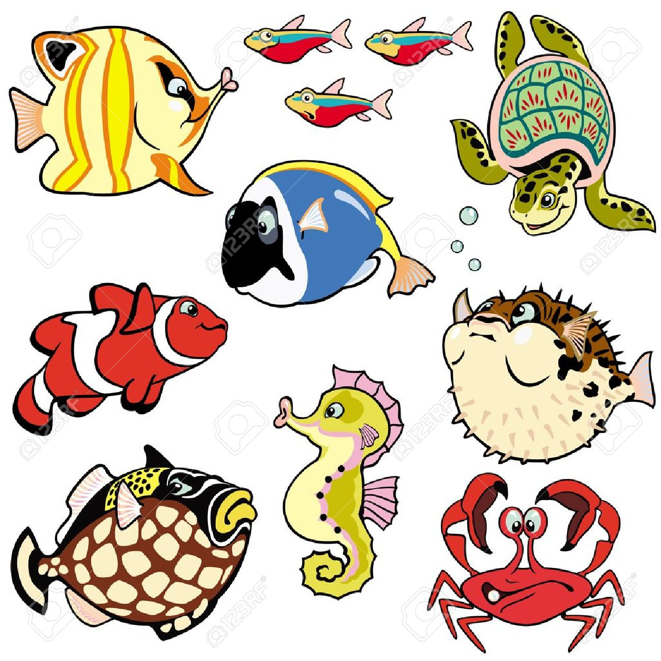 sea fishes and animals,set with cartoon pictures isolated on white background,children illustration,vector images Stock Vector - 16123127