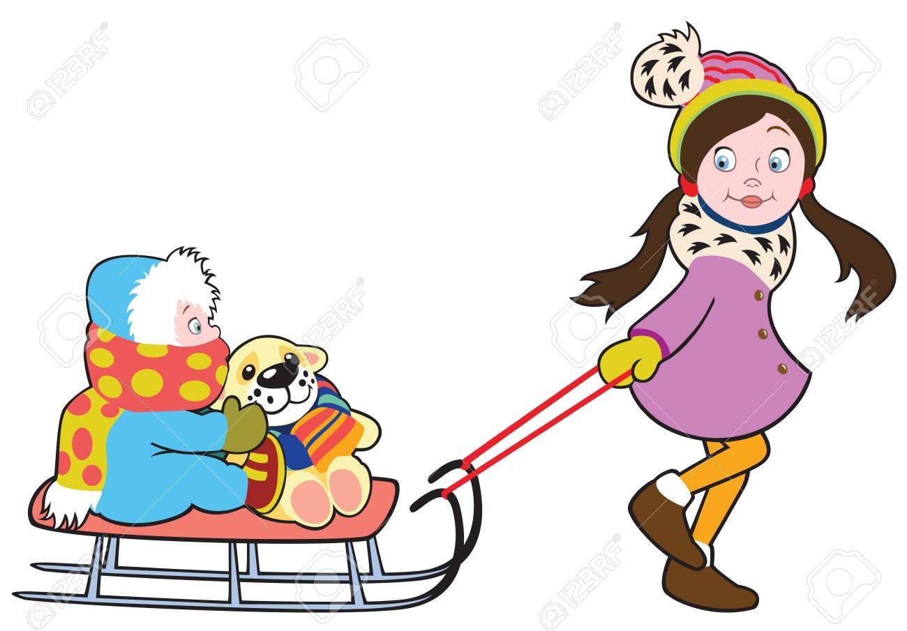 child with sledge,vector illustration isolated on white background,picture for litle kids Stock Vector - 16402456