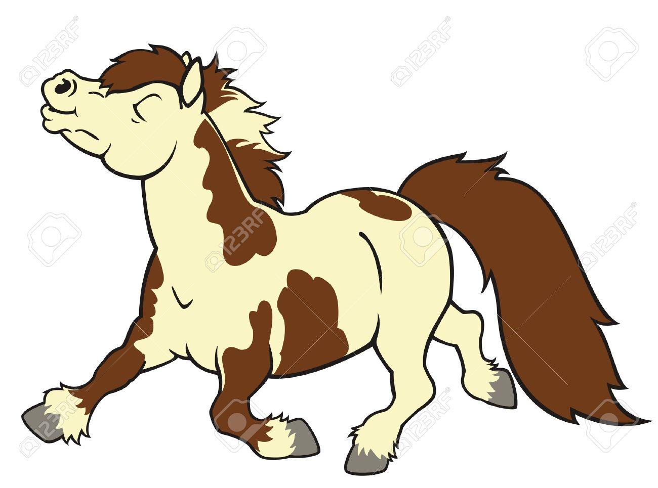 Shetland Pony Corriendo A Caballo Imagen De Dibujos Animados