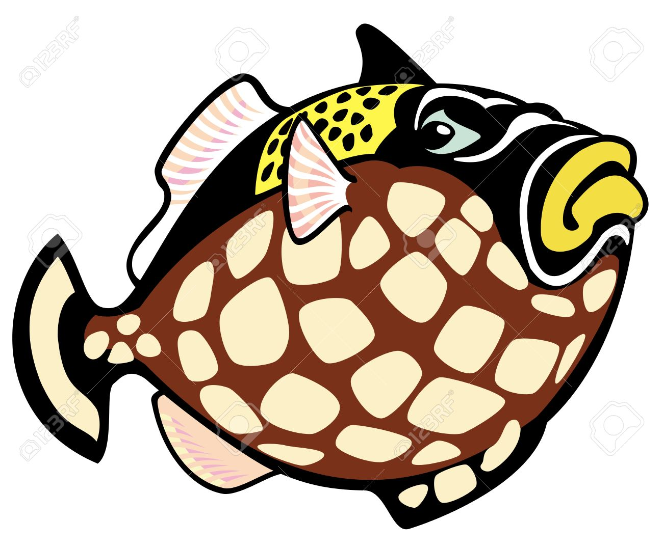 clown trigger fish,cartoon picture isolated on white background,vector illustration Stock Vector - 17272630