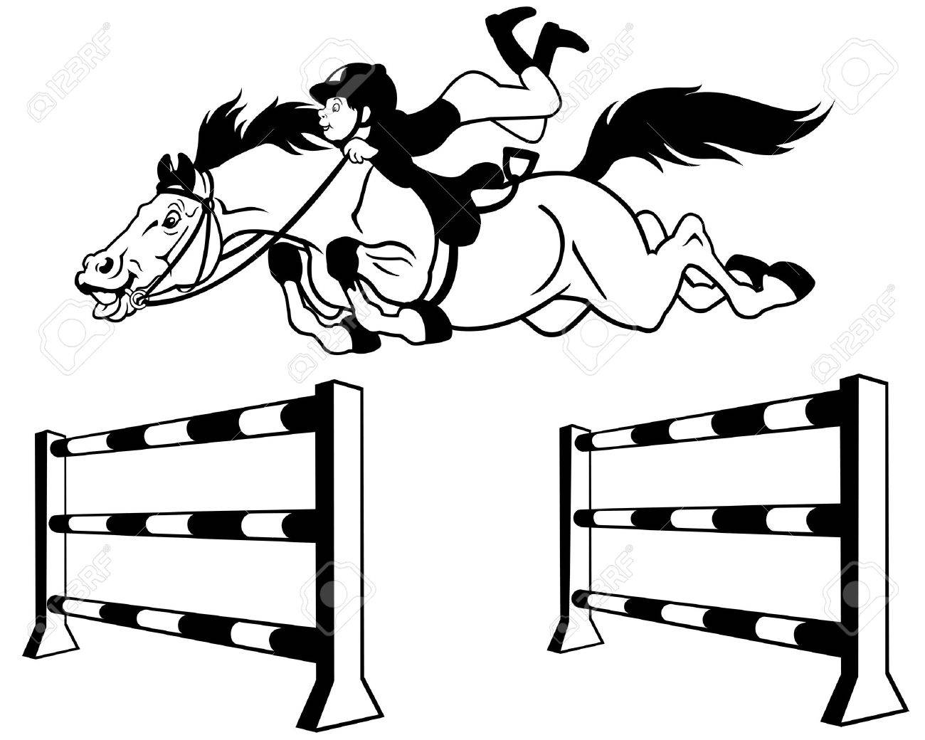 Vector Kid With Horse Jumping A Hurdle,equestrian Sport,black And White  Cartoon Illustration