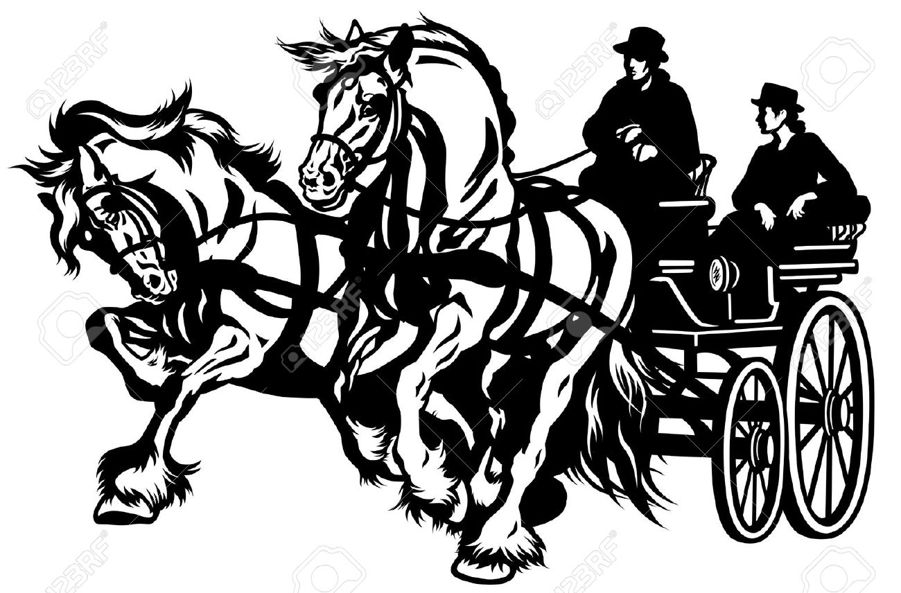 Horse Drawn Carriage Clipart Pair Horses Drawn Carriage