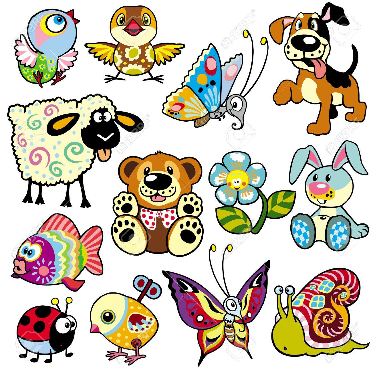 establecer con los animales de dibujos animados y juguetes para bebs y nios pequeos foto de