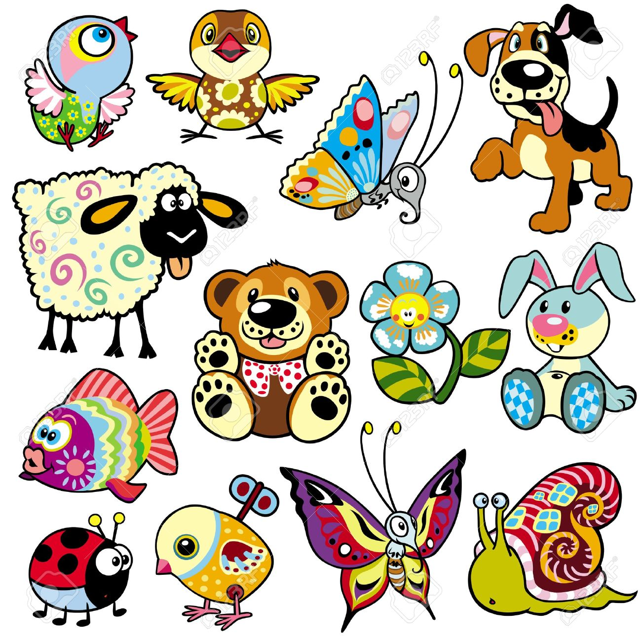set with cartoon animals and toys for babies and little kids stock vector 21734942 - Kids Cartoon Animals