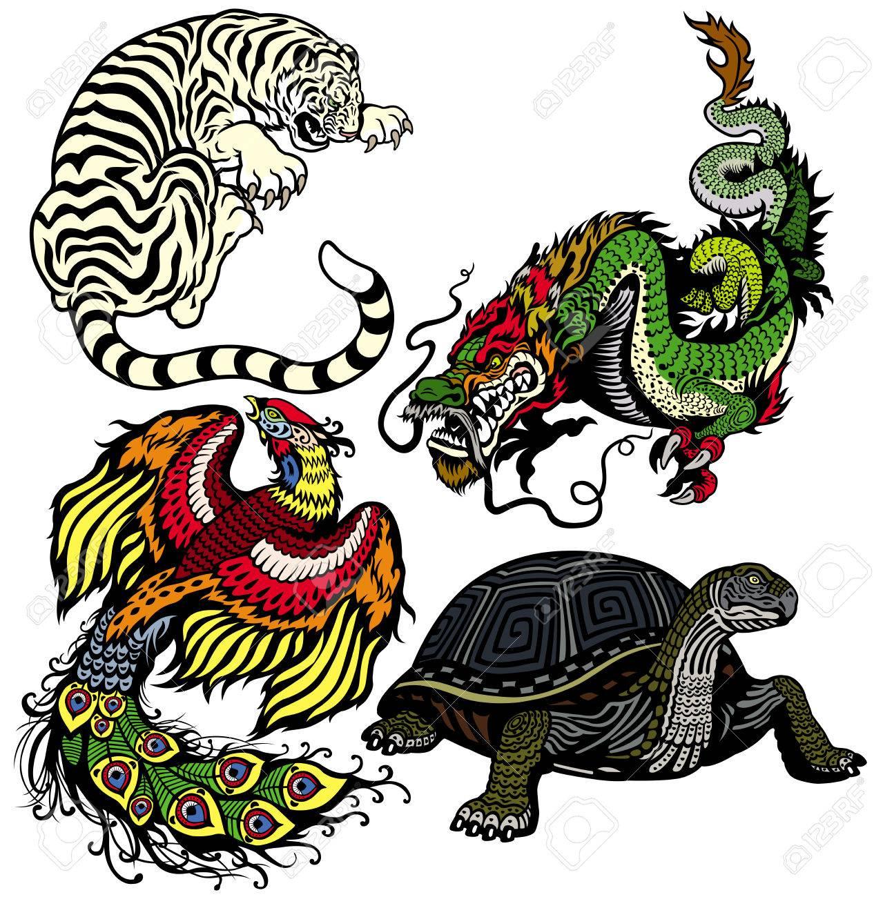 Dragon Tigre Tortue Et Phenix Ensemble De Quatre Celestes Feng
