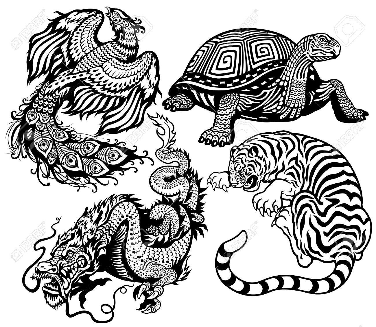 Tigre Tortue Phenix Et Le Dragon Noir Et Blanc Ensemble De Quatre