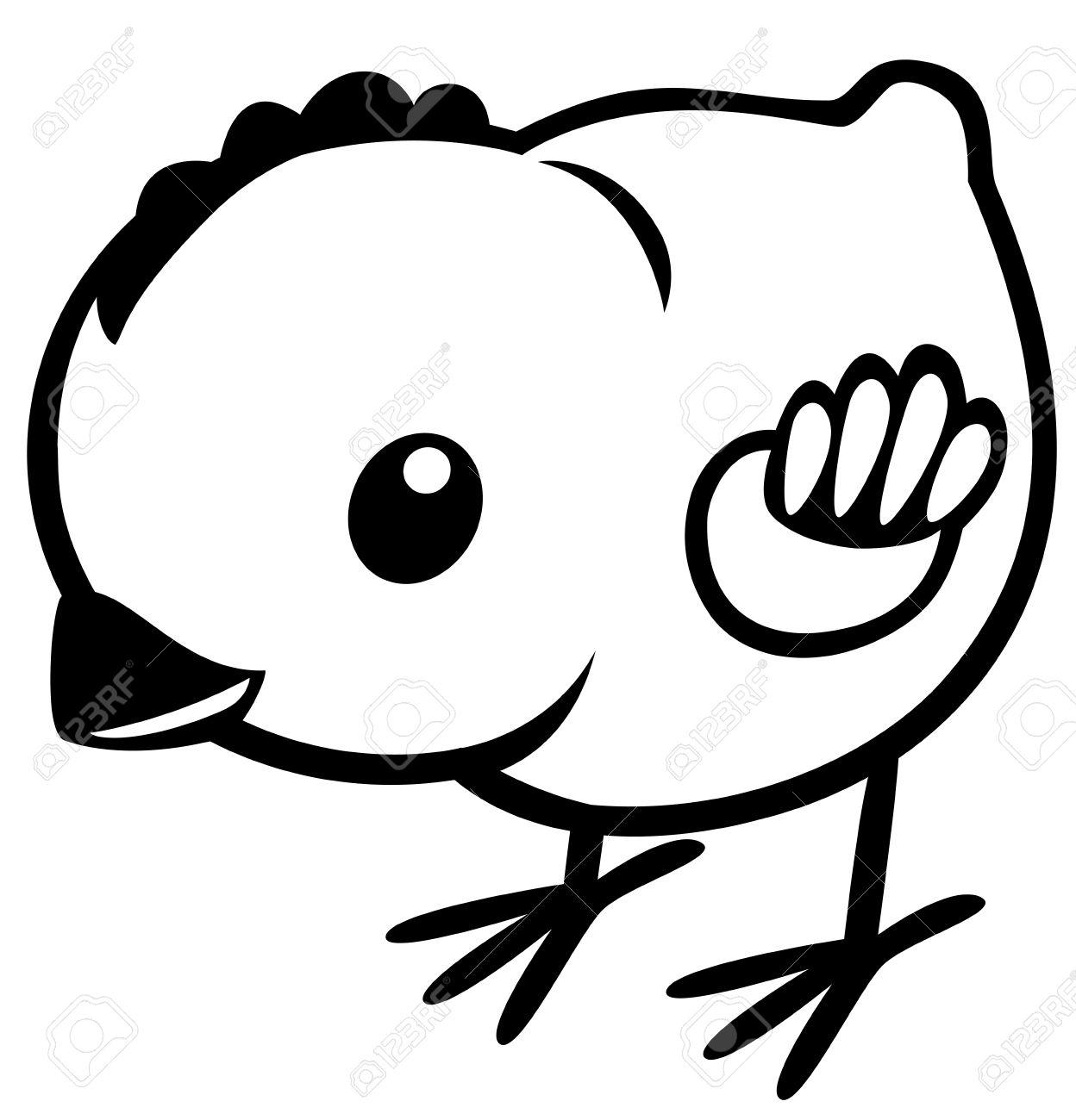 Pollo De Dibujos Animados Imagen En Blanco Y Negro Para Los Niños