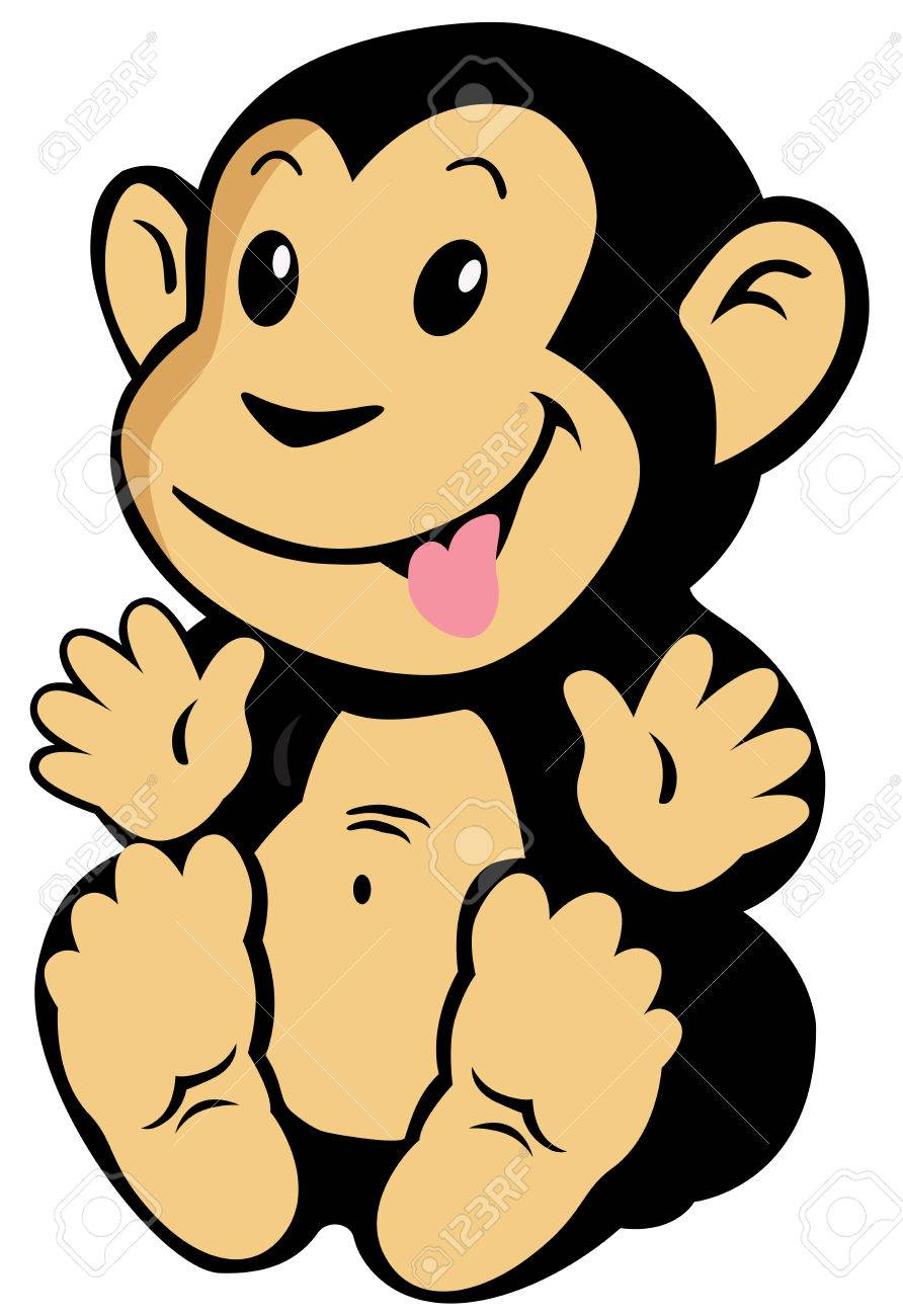 cartoon monkey for babies and little kids image isolated on