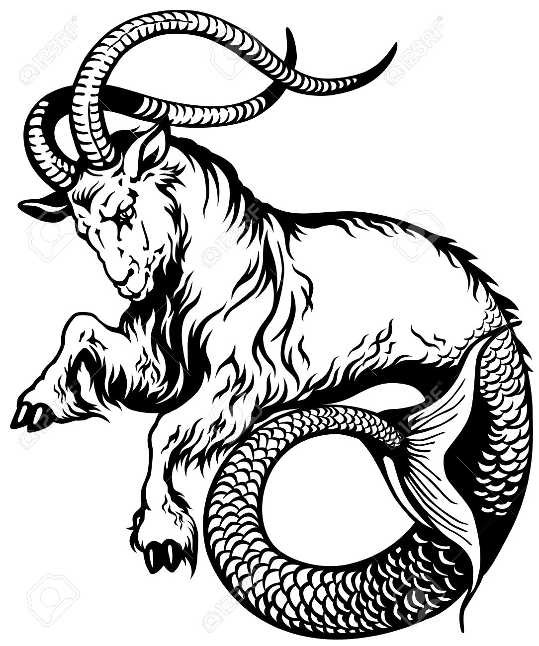 Capricorn Astrological Zodiac Sign Black And White Tattoo Image