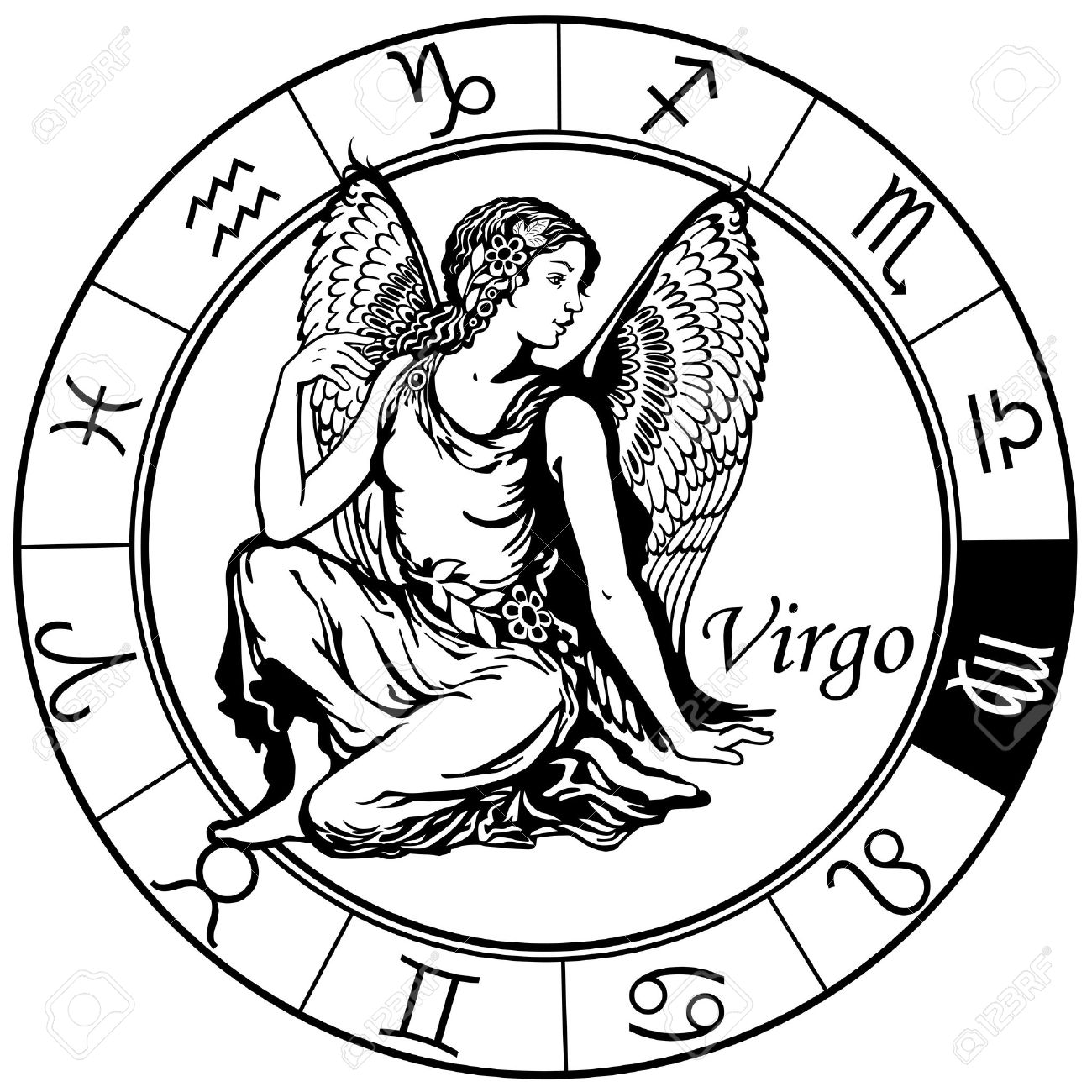 The virgo symbol image collections symbols and meanings virgo astrological zodiac sign black and white image royalty free virgo astrological zodiac sign black and buycottarizona Images