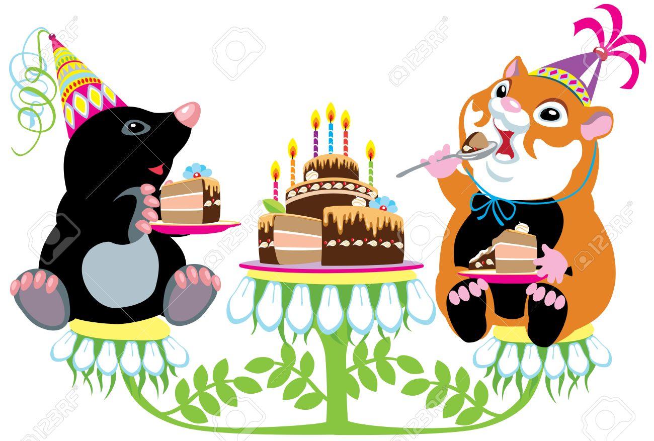 Cartoon Mole And Hamster Eating Birthday Cake Isolated Image