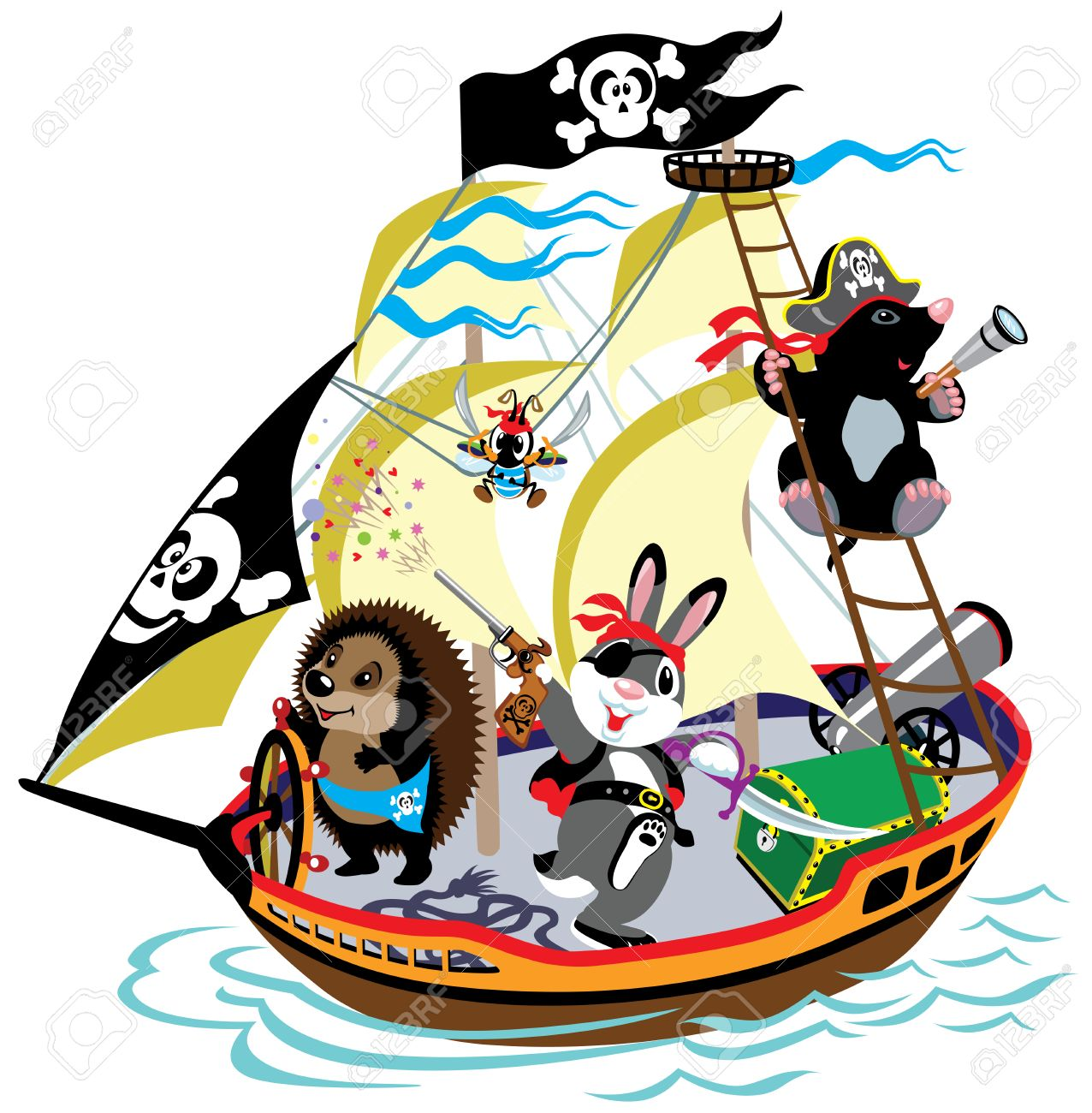cartoon pirate ship with mole captain and his team children