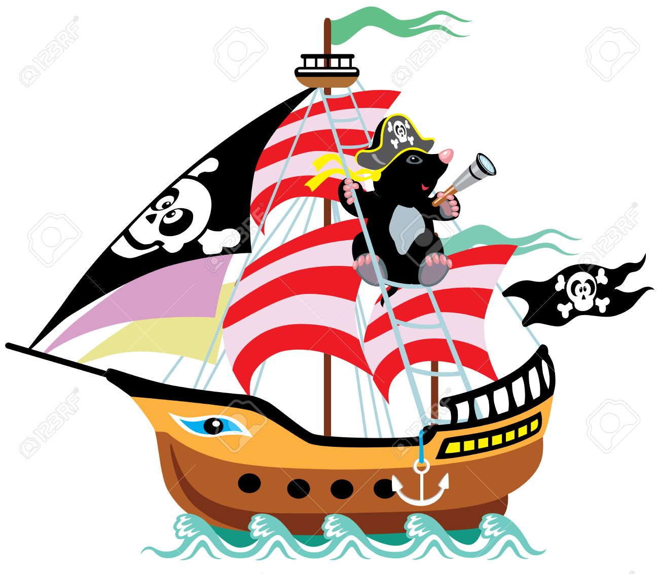 cartoon pirate ship with mole captain isolated picture for little