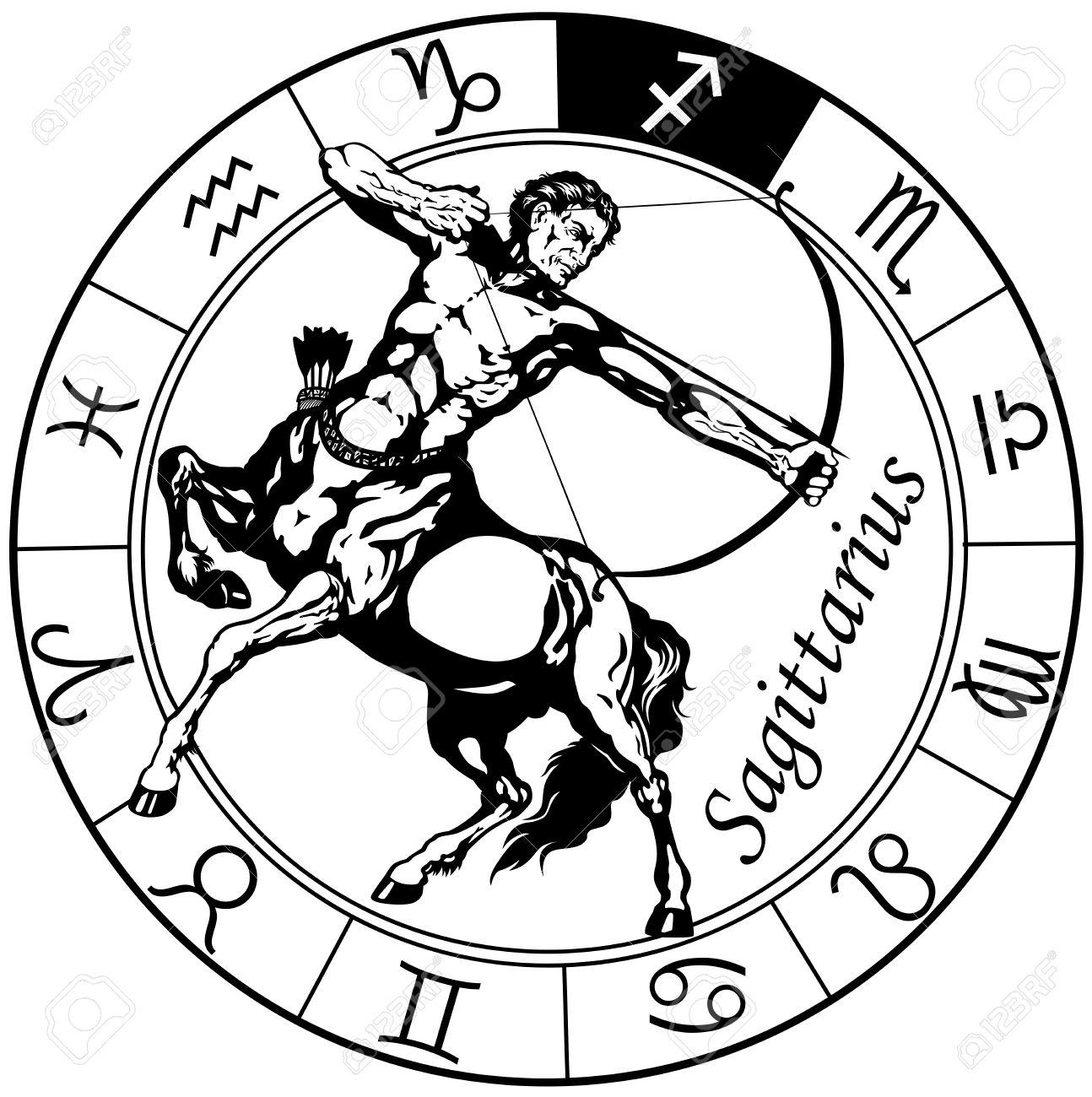 Sagittarius the centaur archer astrological zodiac sign black sagittarius the centaur archer astrological zodiac sign black and white isolated image stock vector biocorpaavc