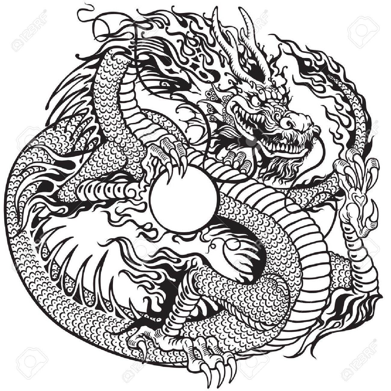 Dragon: Chinese Dragon Holding Pearl, Black And White Tattoo Illustration  Illustration