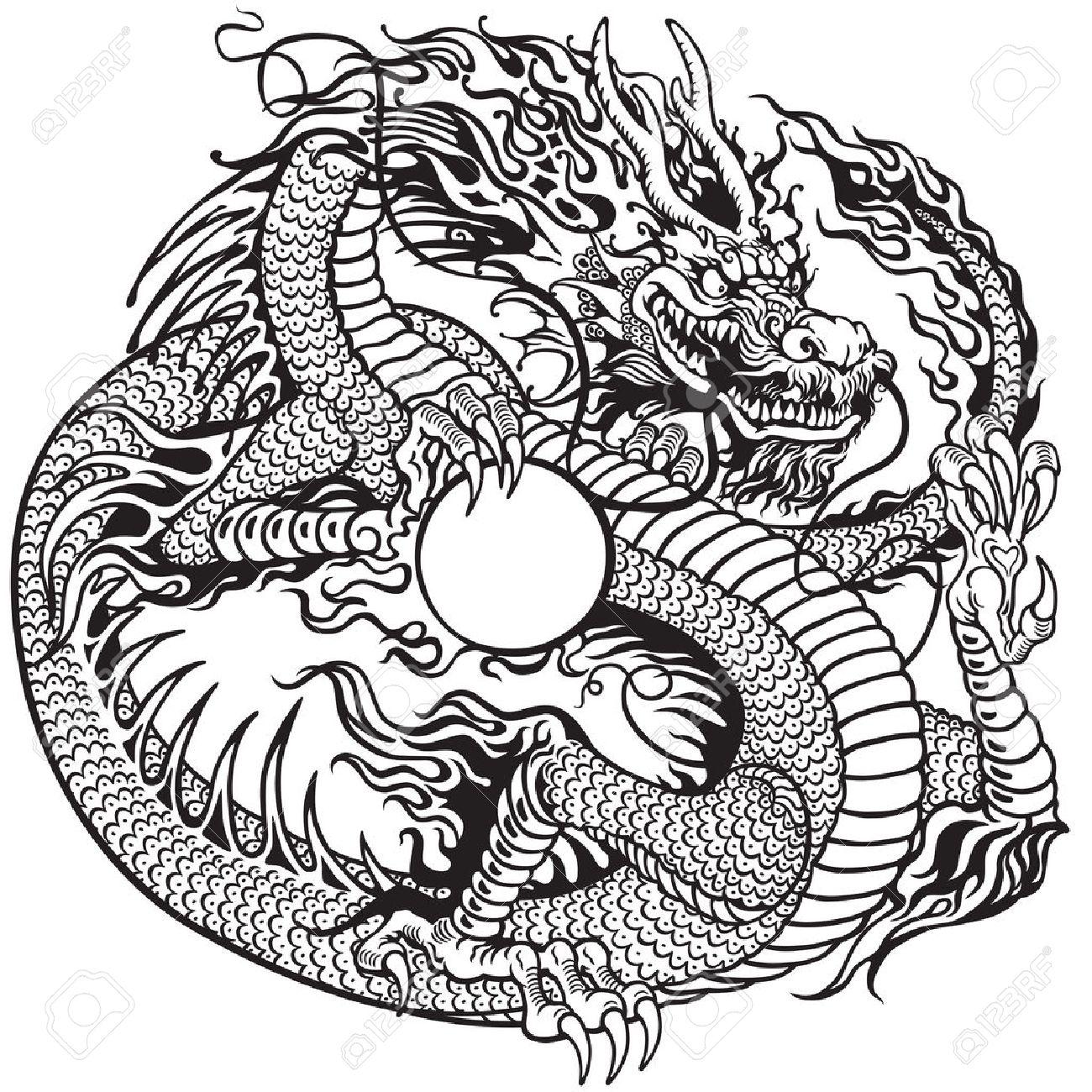 Chino Celebración Perla Del Dragón Negro Y Blanco Ilustración Del