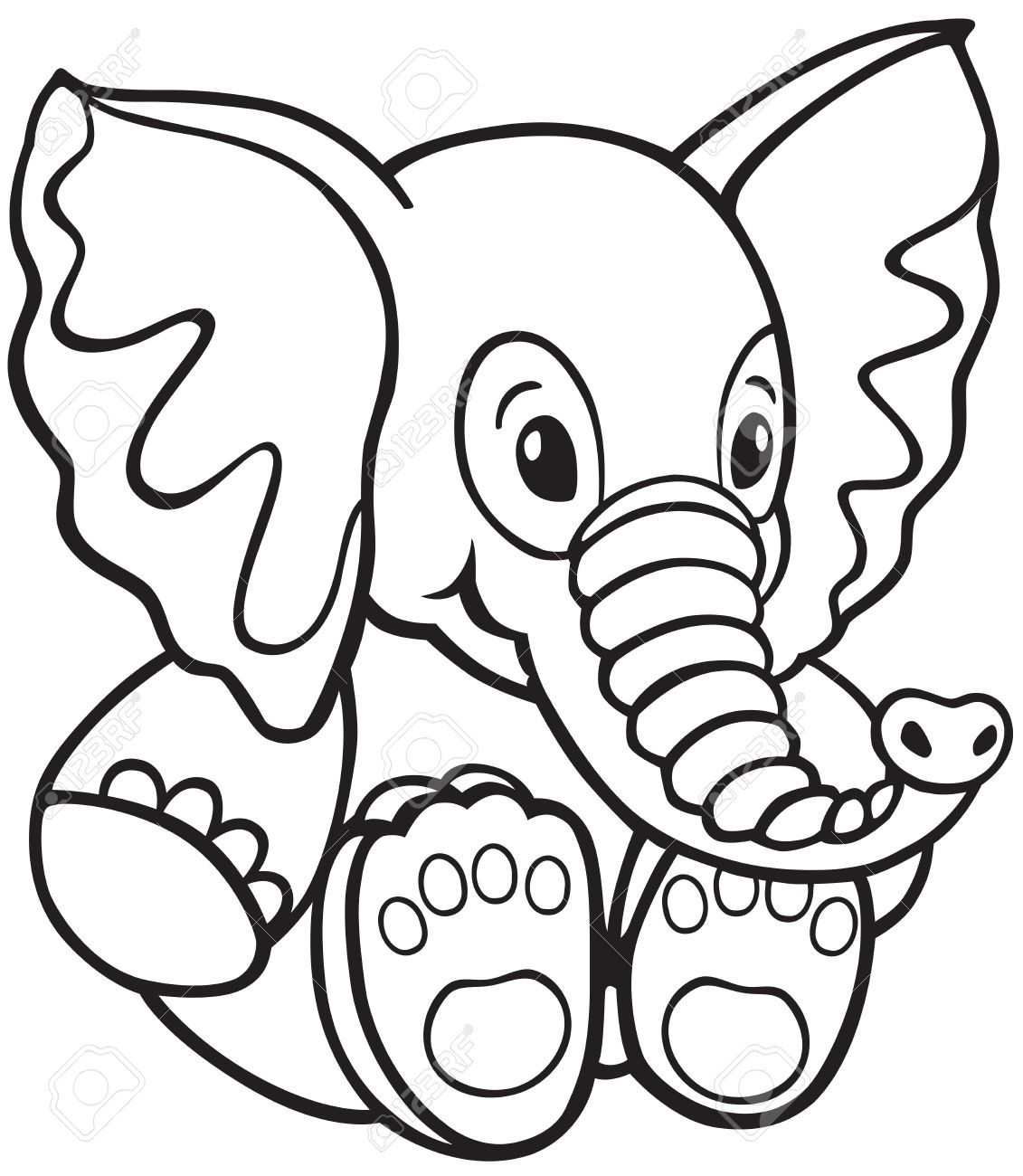 elephant soft toy black and white cartoon image for little
