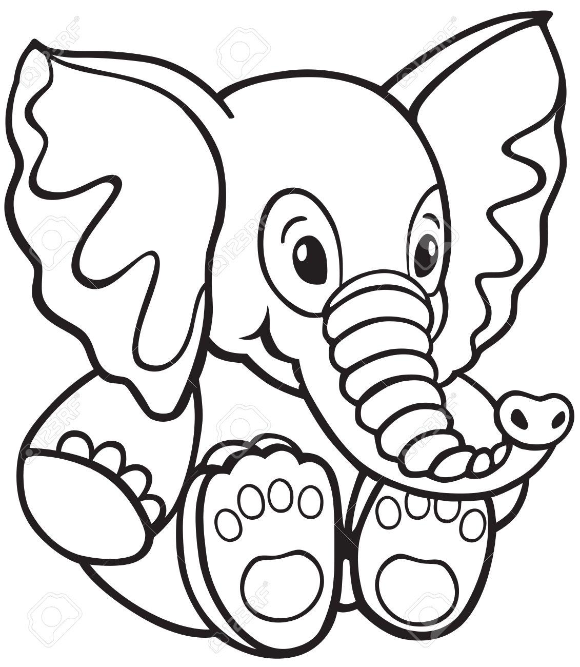 Peluche Elefante Imagen En Blanco Y Negro De Dibujos Animados Para