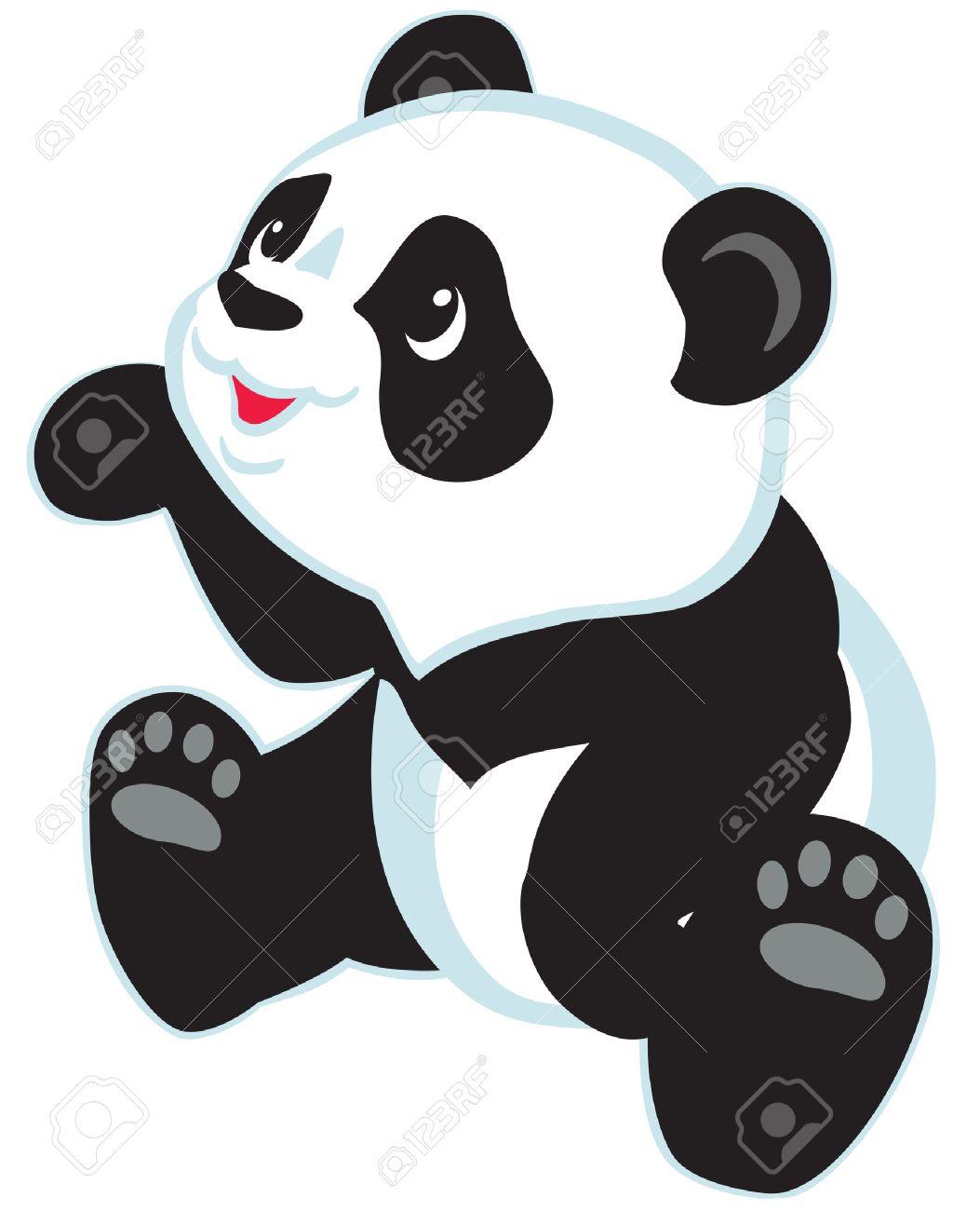 Sentado Dibujos Animados Oso Panda Aislado Por Los Niños Pequeños