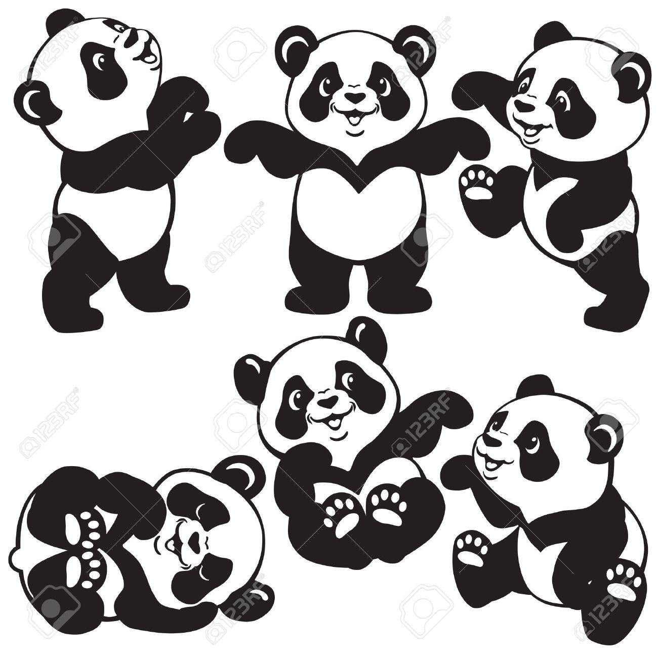 set with cartoon panda bear , black and white images for little kids - 36063395