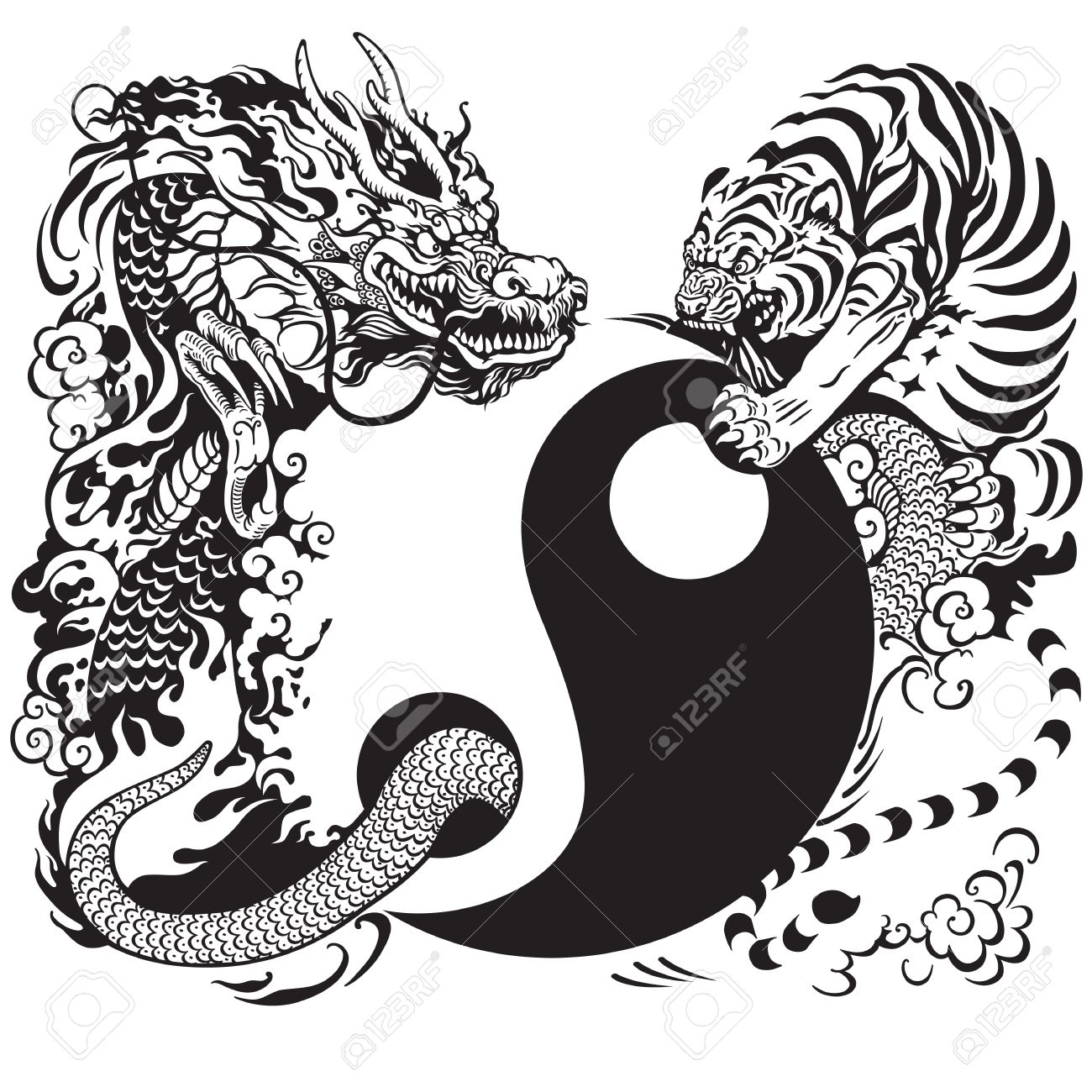 Yin Yang Symbol With Dragon And Tiger Fighting Black And White