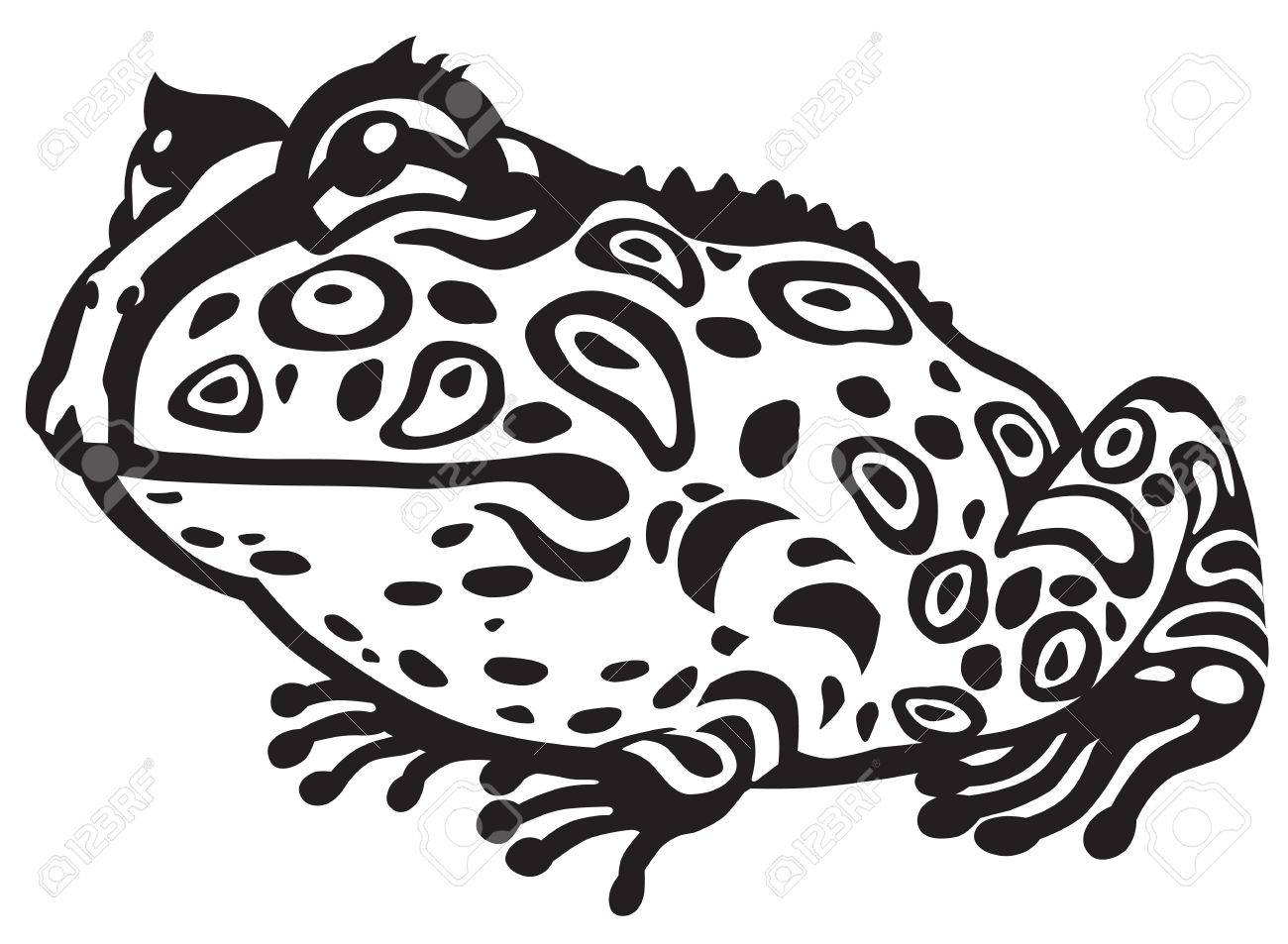 cartoon horned frog black and white image royalty free cliparts rh 123rf com TCU Horned Frog Icon TCU Horned Frogs Logo