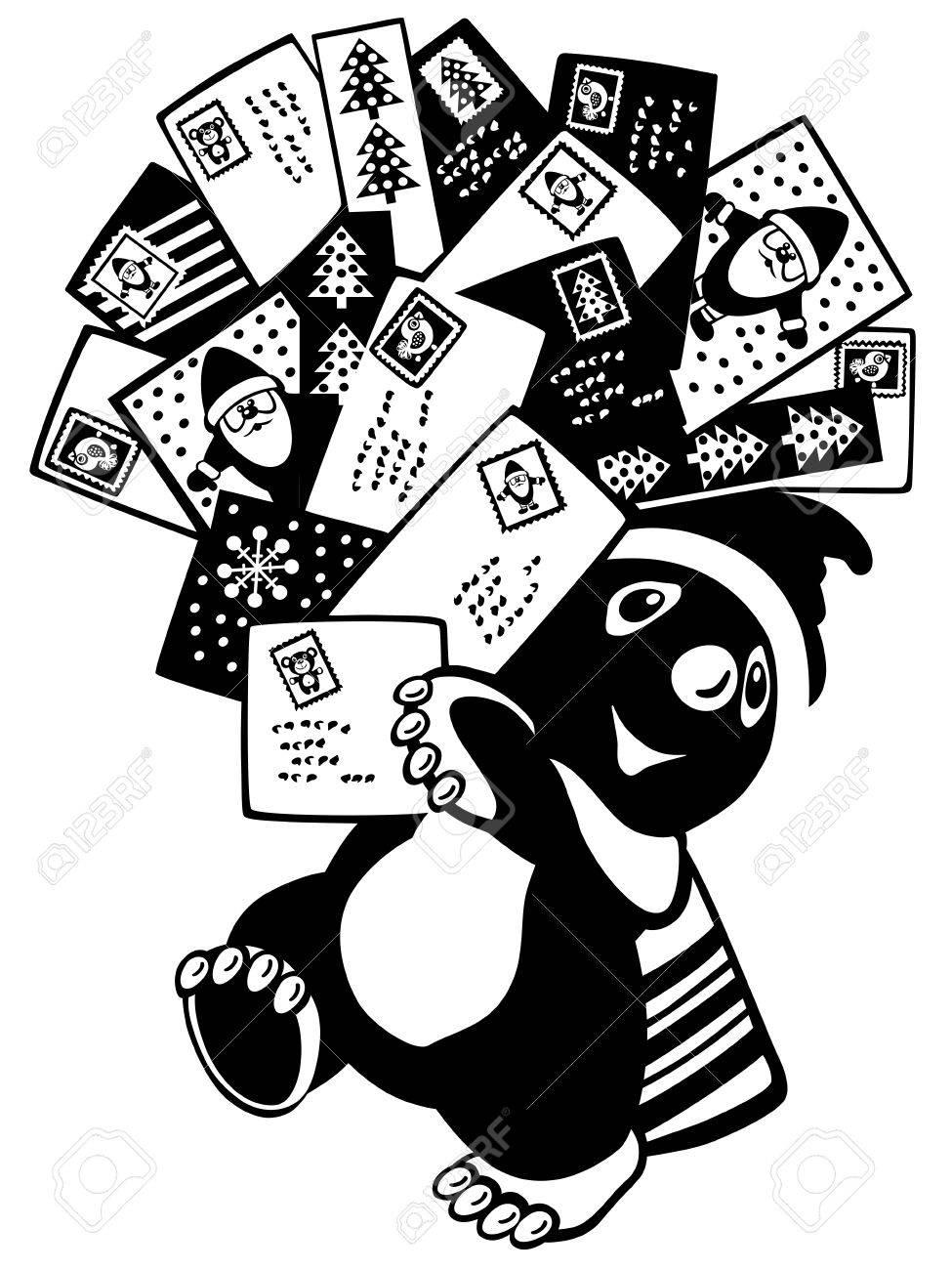 Cartoon Maulwurf Hält Weihnachtsgrußkarten Und Briefe. Schwarz-Weiß ...