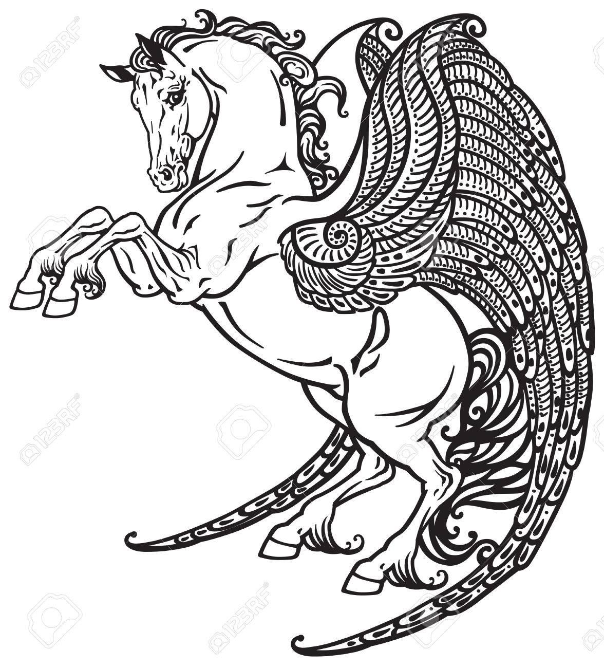 Pegasus Mythischen Geflügelten Pferd Schwarz Weiß Tattoo Bild