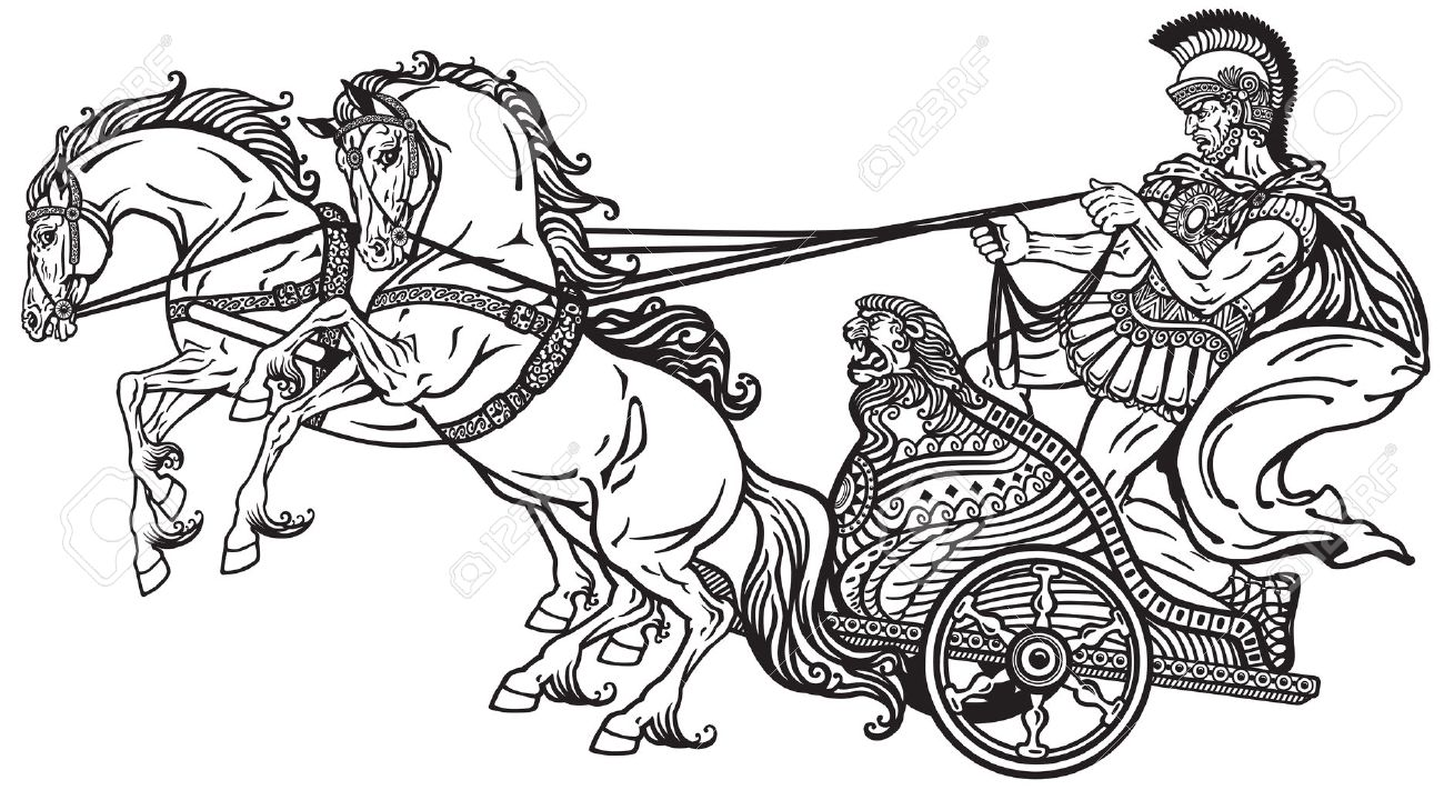 Roman Warrior In A Chariot Pulled By Two Horses . Black And White ...