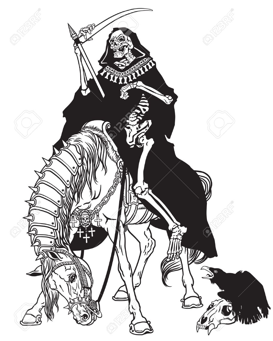 Grim Reaper Symbol Of Death And Time Sitting On A Horse And Holding