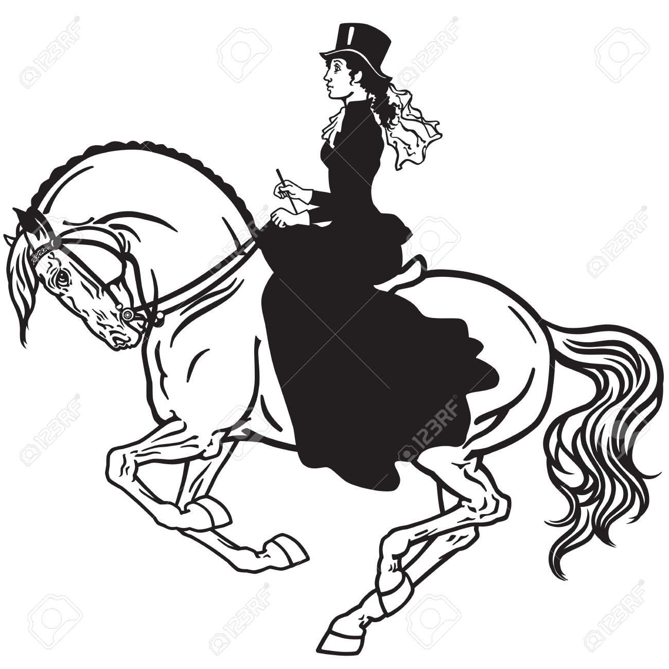 Lady Sitting On A Horse Woman Side Saddle Horseback Riding Royalty Free Cliparts Vectors And Stock Illustration Image 60741713