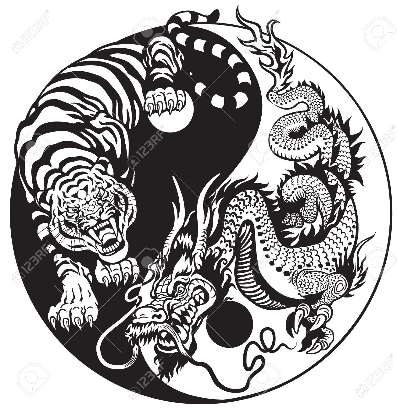 Dragon And Tiger Yin Yang Symbol Of Harmony And Balance Black And