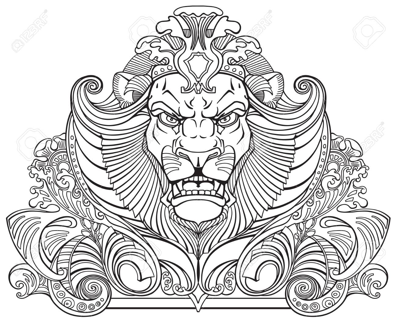 Head Of Lion King Front View Ornament Tattoo Black And White Royalty Free Cliparts Vectors And Stock Illustration Image 73640580 Small lion tattoo lion head tattoos king tattoos foot tattoos swahili tattoo cat design design art kritzelei tattoo doodle tattoo tattoo outline piercing tattoo tattoo drawings icon tattoo mini. head of lion king front view ornament tattoo black and white