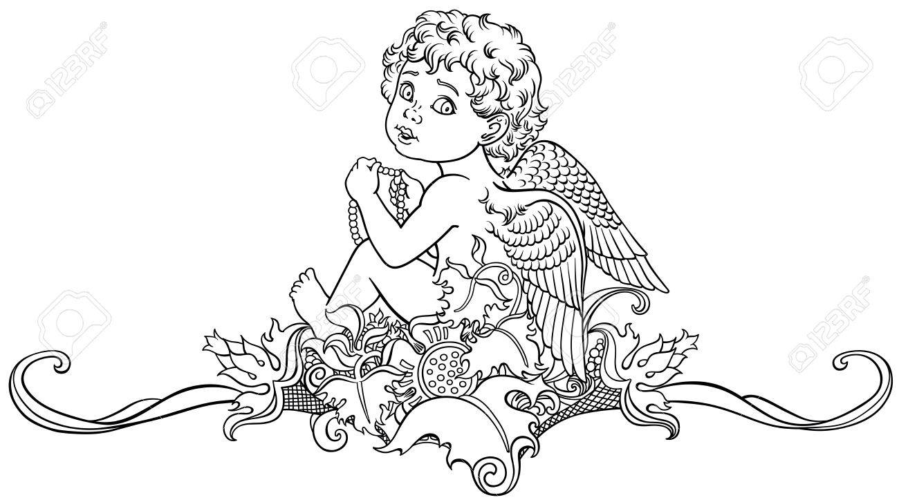 Dibujos Animados Angelito Sentado En Adorno Floral Ilustración De