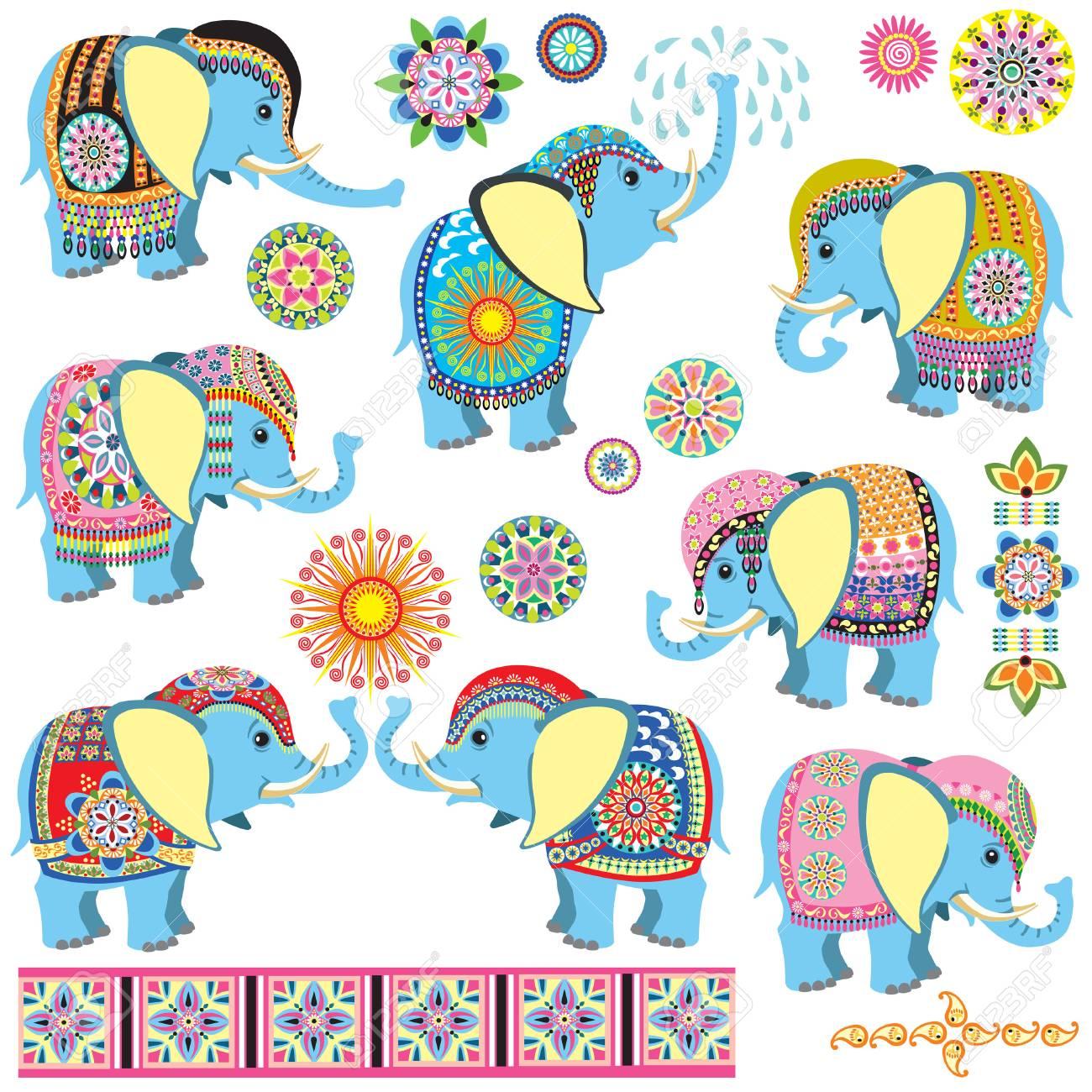 Conjunto Con Dibujos Animados Elefantes Indios Decorados Con Adornos