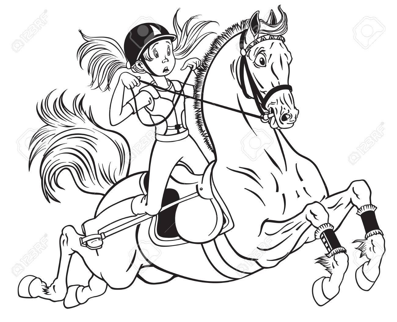 Petite Fille Dessin Animé Sur Un Cheval De Poney Illustration Vectorielle Noir Et Blanc